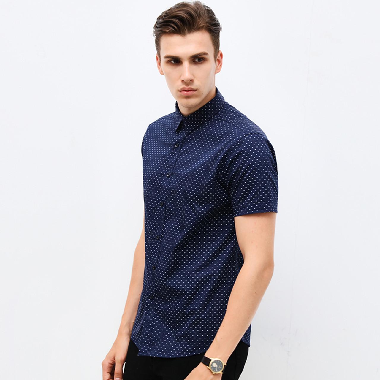 c1456a9f6f2 ... Hot 2018 Summer New Fashion Brand Clothing Men Short Sleeve Shirt Polka  Dot Slim Fit Shirt ...