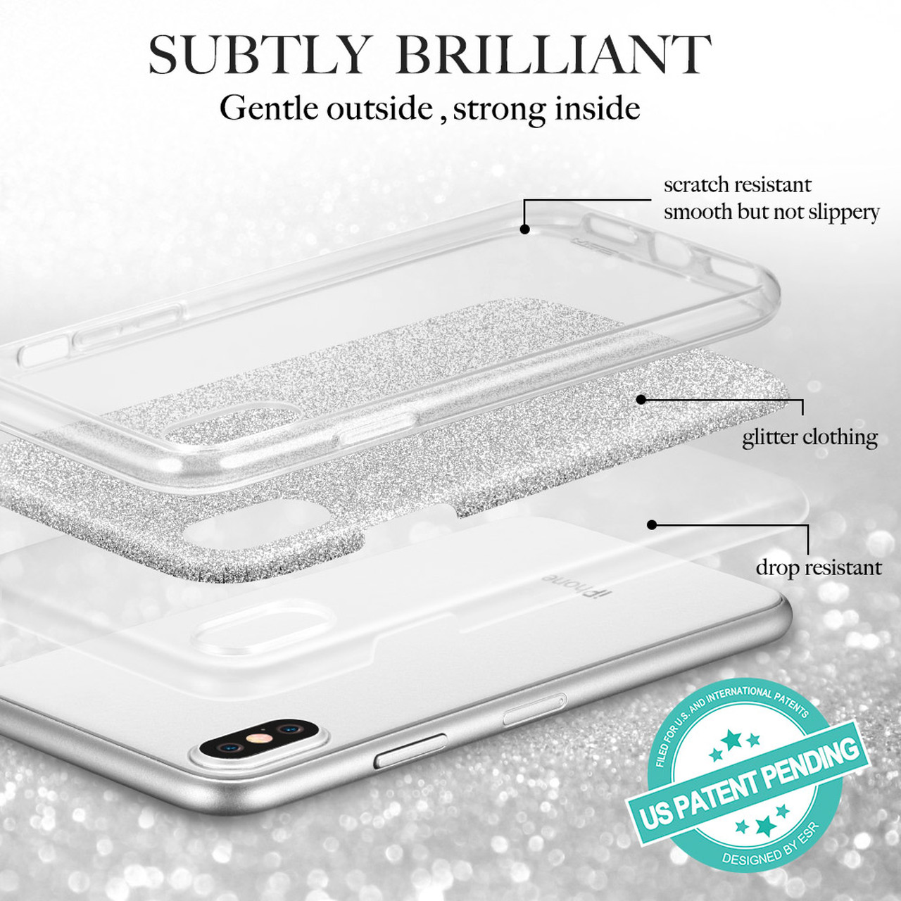 8ed5f15bd6 ... Case for iphone X 5.8 inch, ESR Makeup Series Back Cover Shinning  Protective Bumper Bling ...