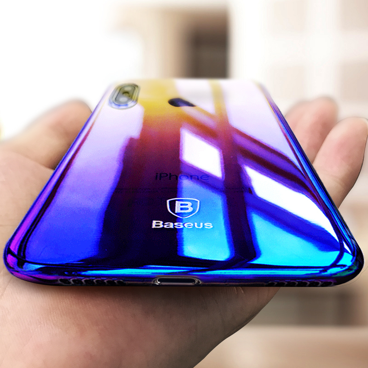 bc62c4ec7e Baseus Luxury Gradient Plastic Case For iPhone X Coque Fashion Blue Ray  Light Plating Hard Case ...