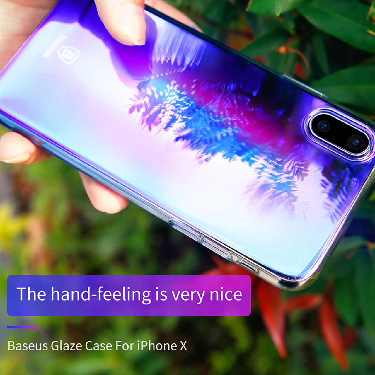 85f92dc523 ... Baseus Luxury Gradient Plastic Case For iPhone X Coque Fashion Blue Ray  Light Plating Hard Case ...