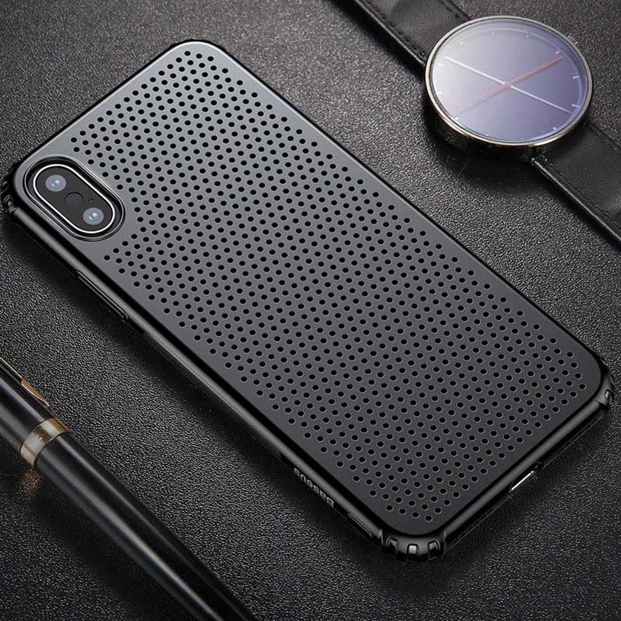 new styles 3660e 659c4 Baseus Heat Dissipation Luxury Case For iPhone X Case Ultra Thin Hard PC  Protective Shell Cases For iPhone X Cover Coque