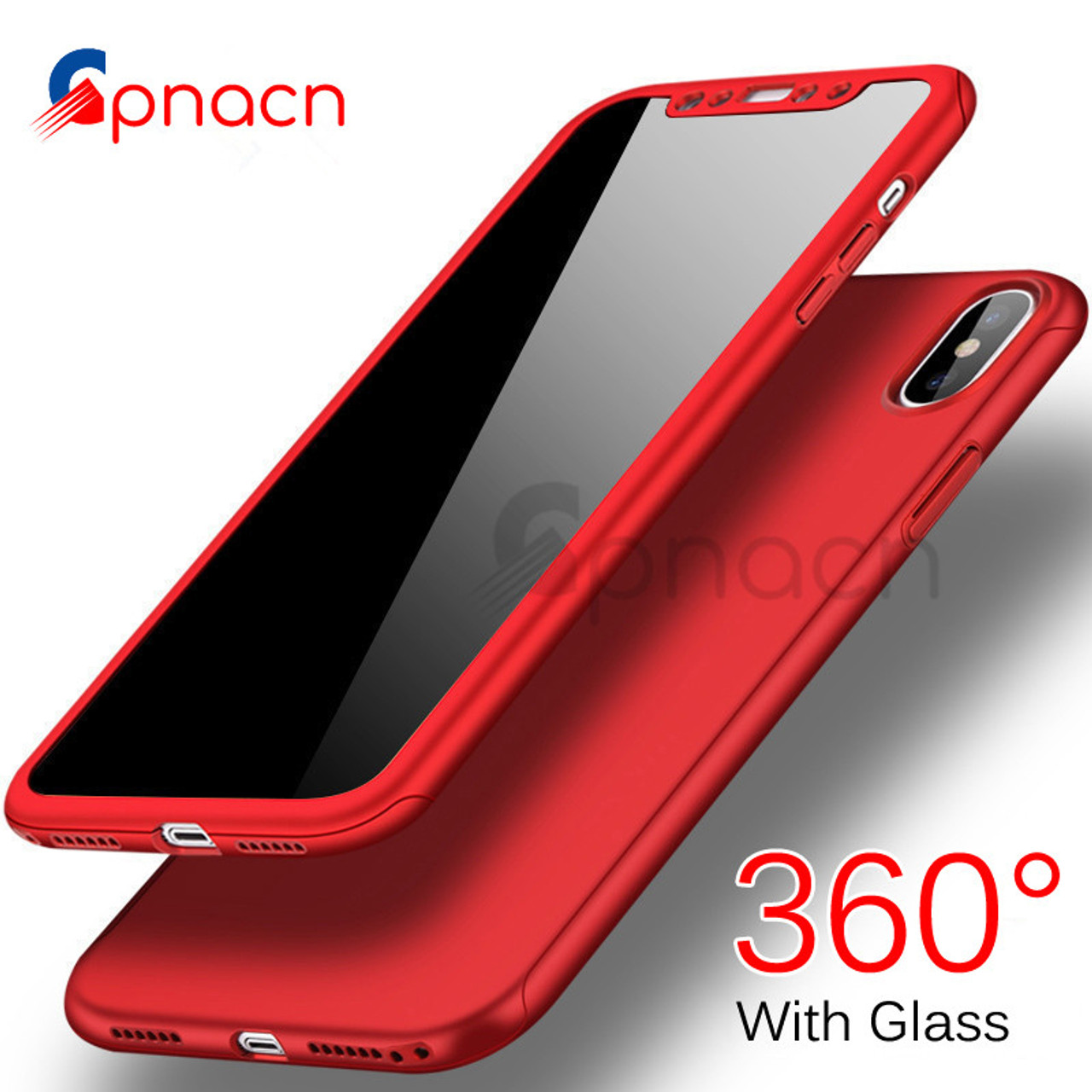 promo code 3ecd6 2053d GPNACN 360 Degree Full Cover Cases For iPhone X 6 6s 7 8 Case wish Tempered  Glass Cover For iphone 6 6S8 7 Plus Phone Case Capa