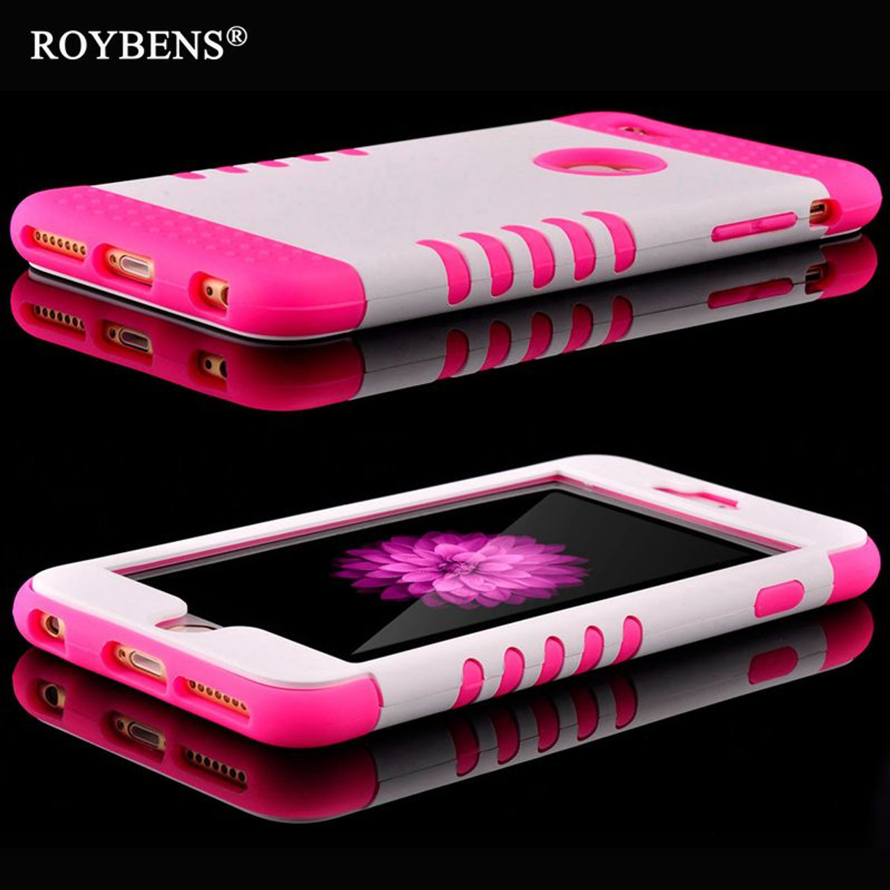 new concept 3314f 22ef4 Roybens For iPhone 6S 5S Case Luxury 3 in 1 Soft Silicone Cover For iPhone  6 Plus 5 5S SE Rugged PC TPU Hybrid Armor 360 Cases