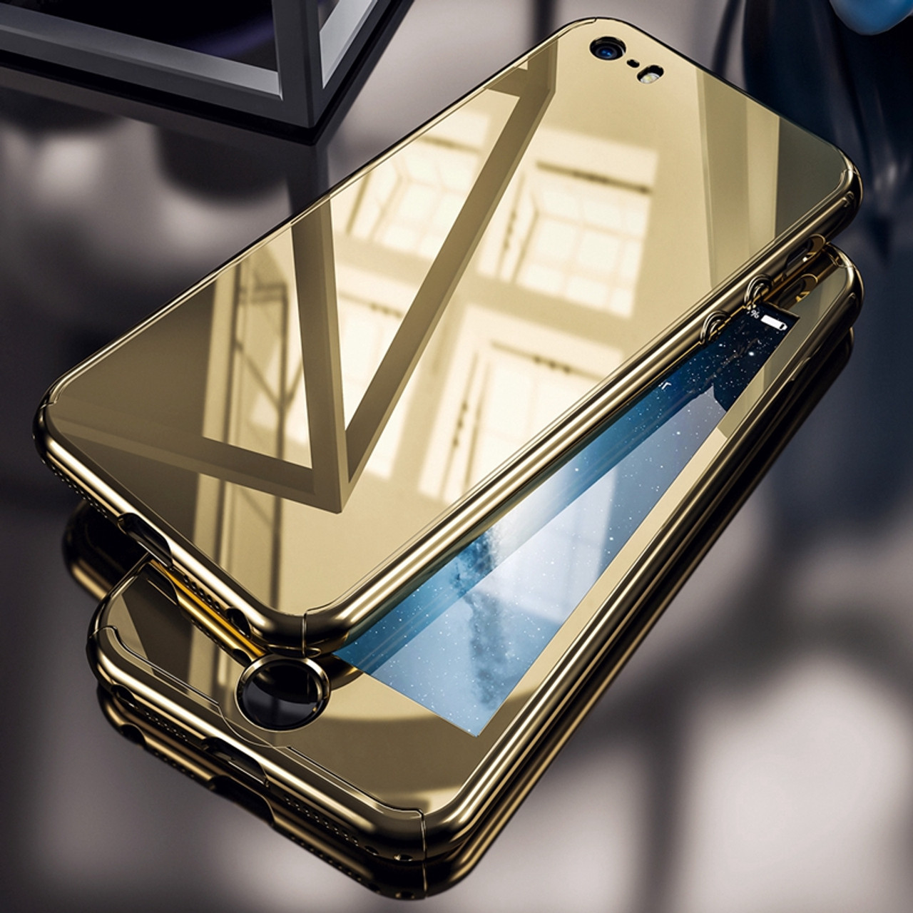 sale retailer 763d2 0f0d5 For iPhone 5S Case Luxury Business Gold Plating Mirror 360 Case For iPhone  5 5S For iPhone SE Hard PC Full Protection Cover Capa