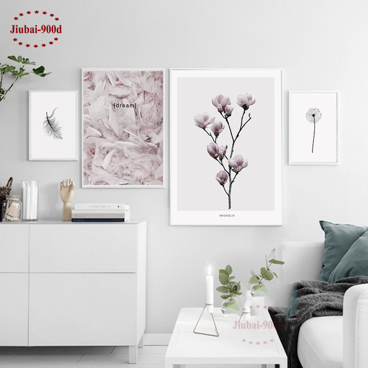 Watercolor Feathers Canvas Poster Nordic Art Painting Home Wall Decor
