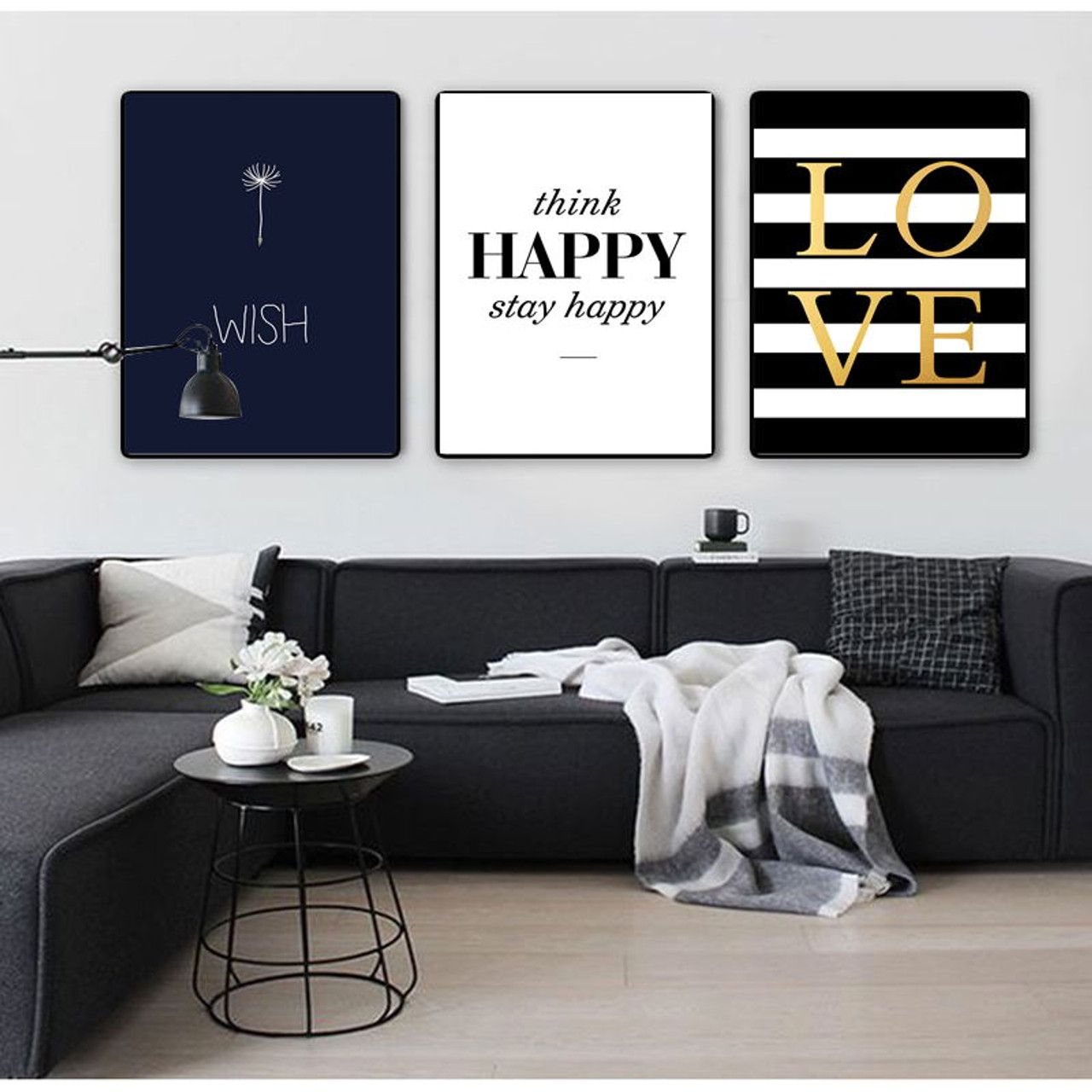 colorfulboy modern happy quotes canvas painting black white wall rh onshopdeals com black and white wallpaper hd black and white wallpaper 4k