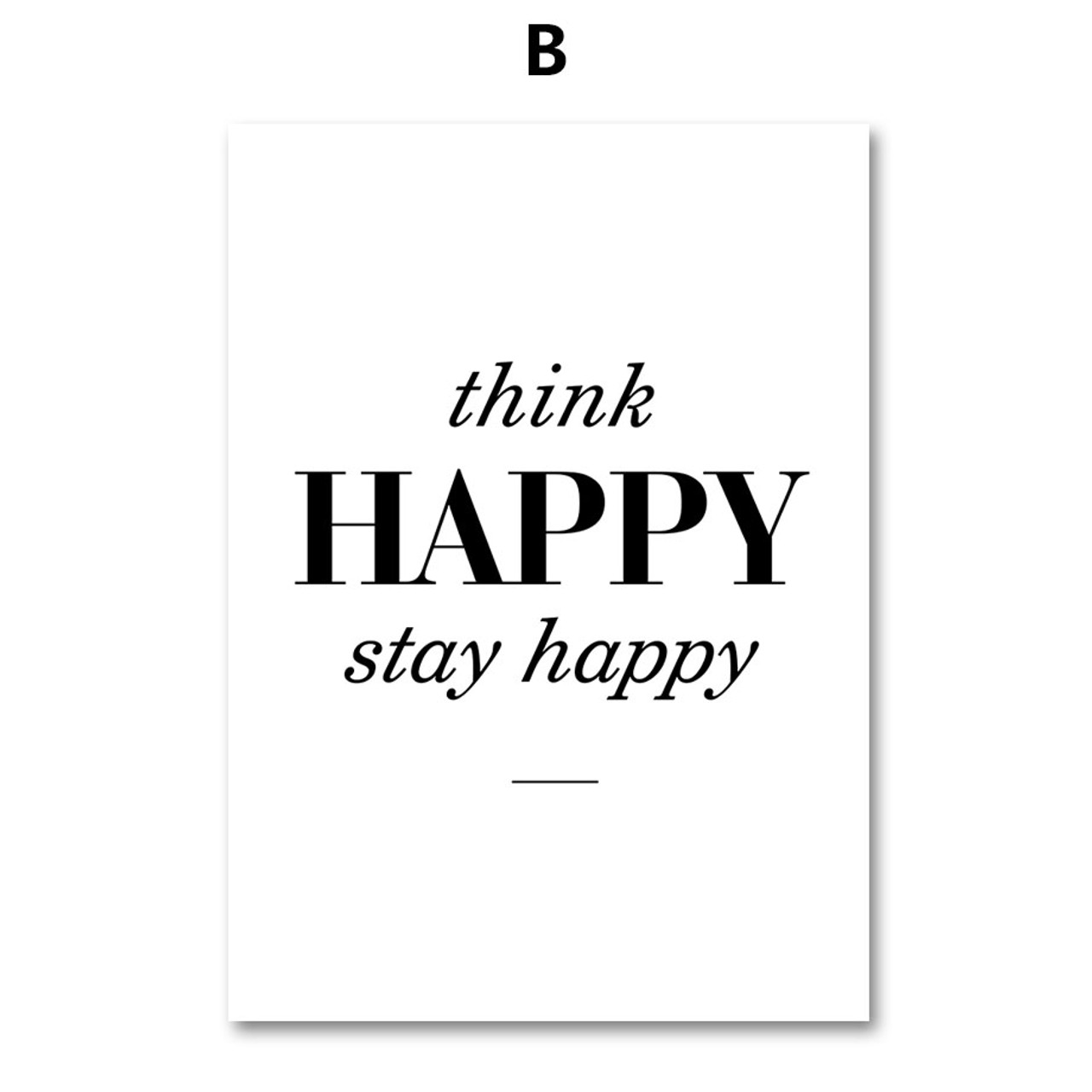 colorfulboy modern happy quotes canvas painting black white wall