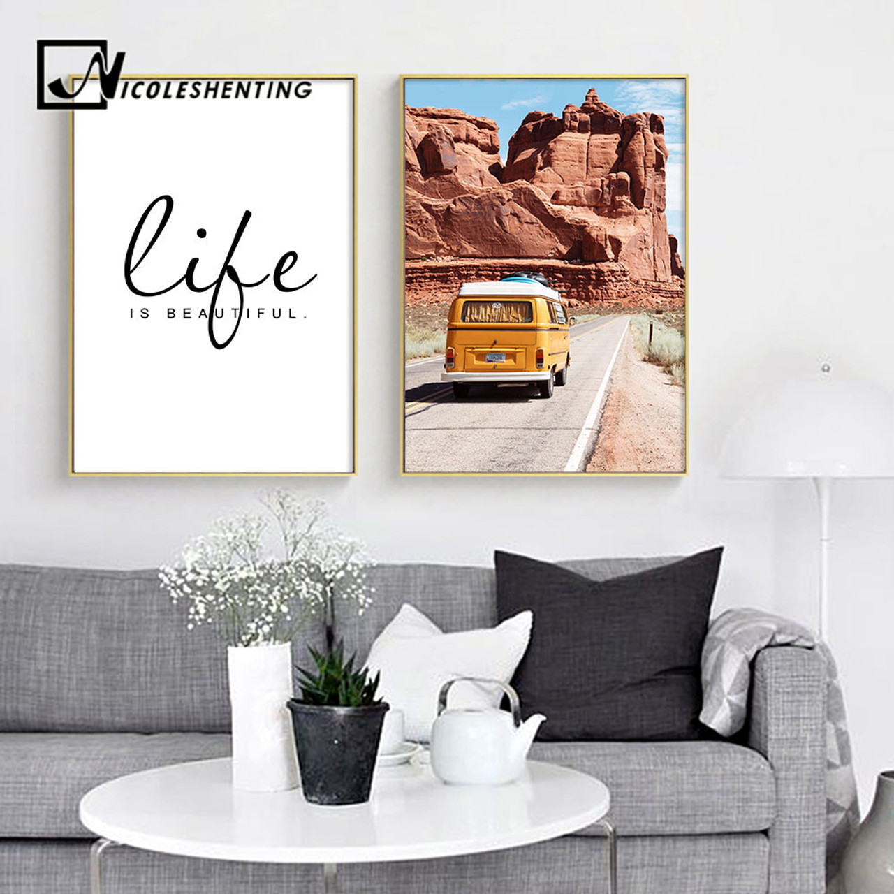 Mountains Landscape Canvas Poster Motivational Life Quote Print Wall Art