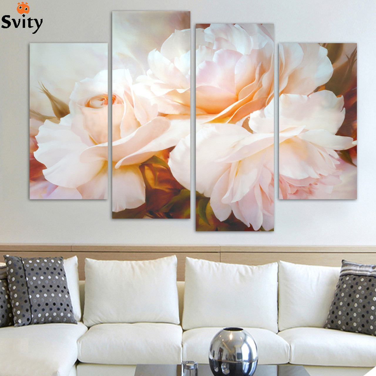 4 pcs set combined rose flower paintings modern wall painting canvas wall art picture unframed h096