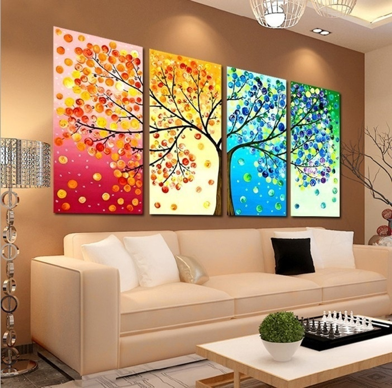 Unframe Wall Art Canvas Painting Decoration For Living Room Picture Colourful Leaf Trees Spray