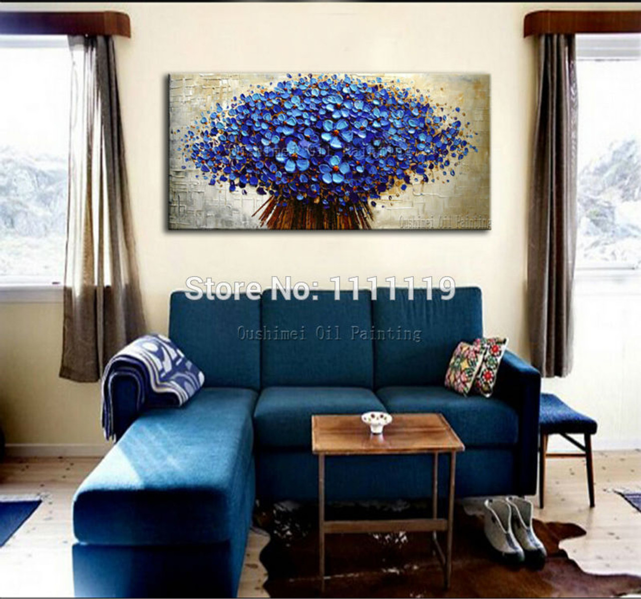 hand painted colorful flower oil painting knife paintings modern