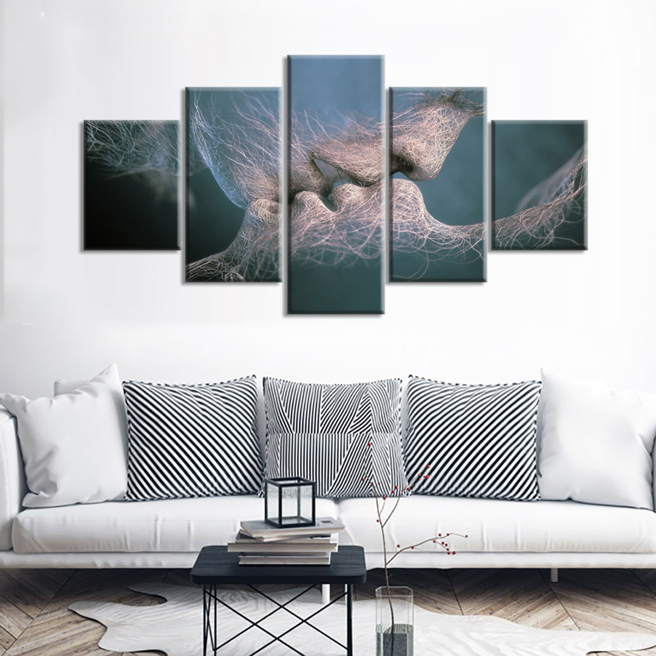 5 piece canvas painting anime love kissing painting has framework or unframed wall art pictures home decoration for living room