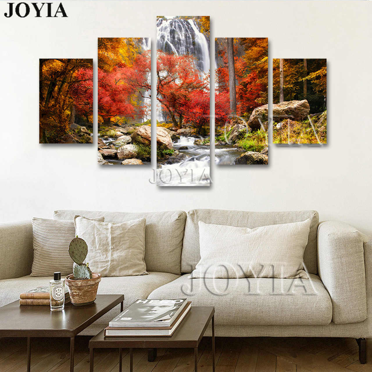 5 Piece Multi Pictures Colorful Forest Waterfall Beautiful Landscape Paintings For Living Room Wall Decor Canvas Art No Frame