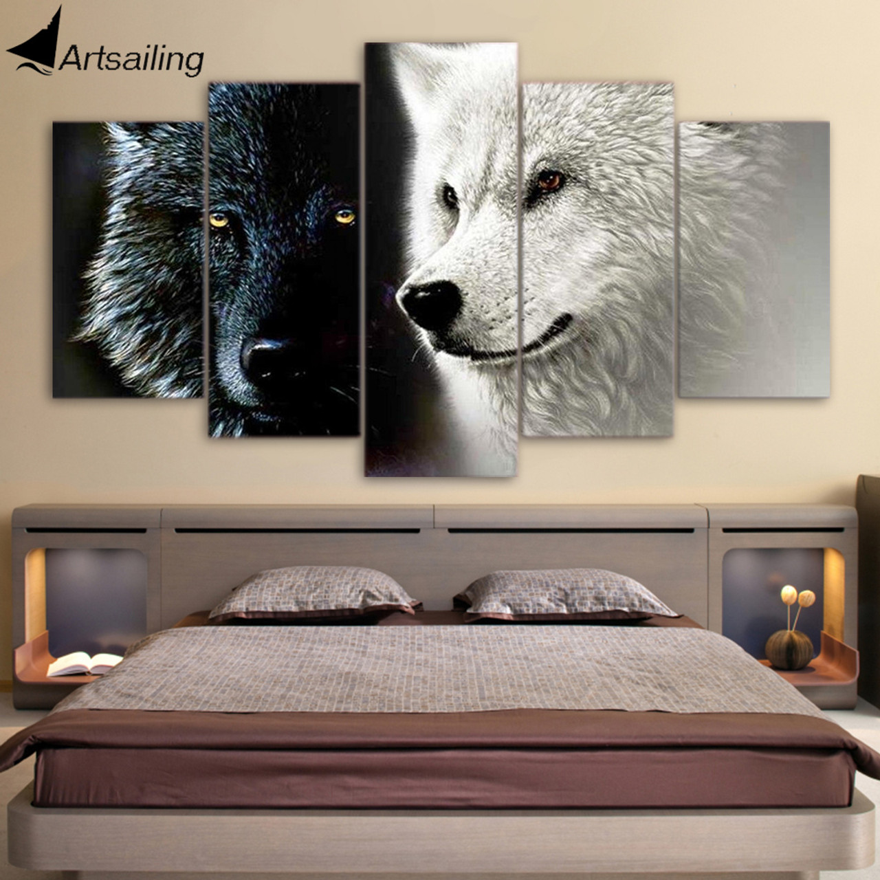 Hd Printed 5 Piece Canvas Art Abstract Black White Wolf Couple Painting Wall Pictures For Living Room Free Shipping Cu 1677a