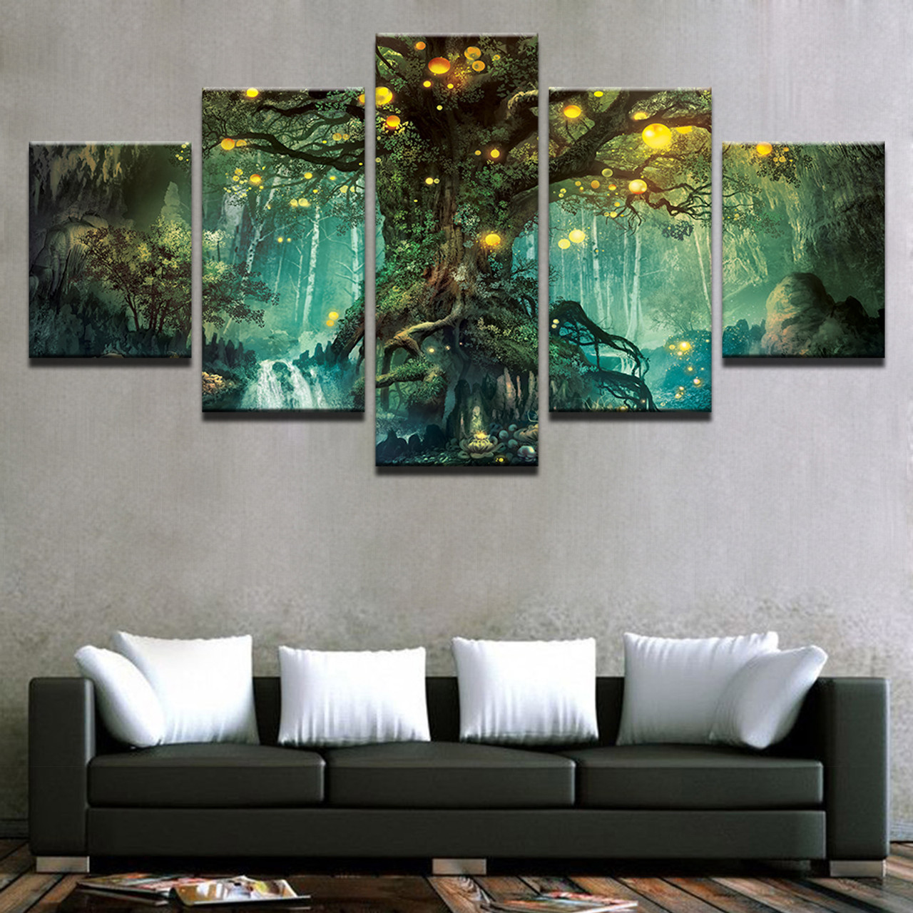 Canvas Wall Art Pictures Frames Living Room 5 Pieces Enchanted Tree Scenery Paintings Home Decor Hd Printed Magic Forest Posters Onshopdeals Com