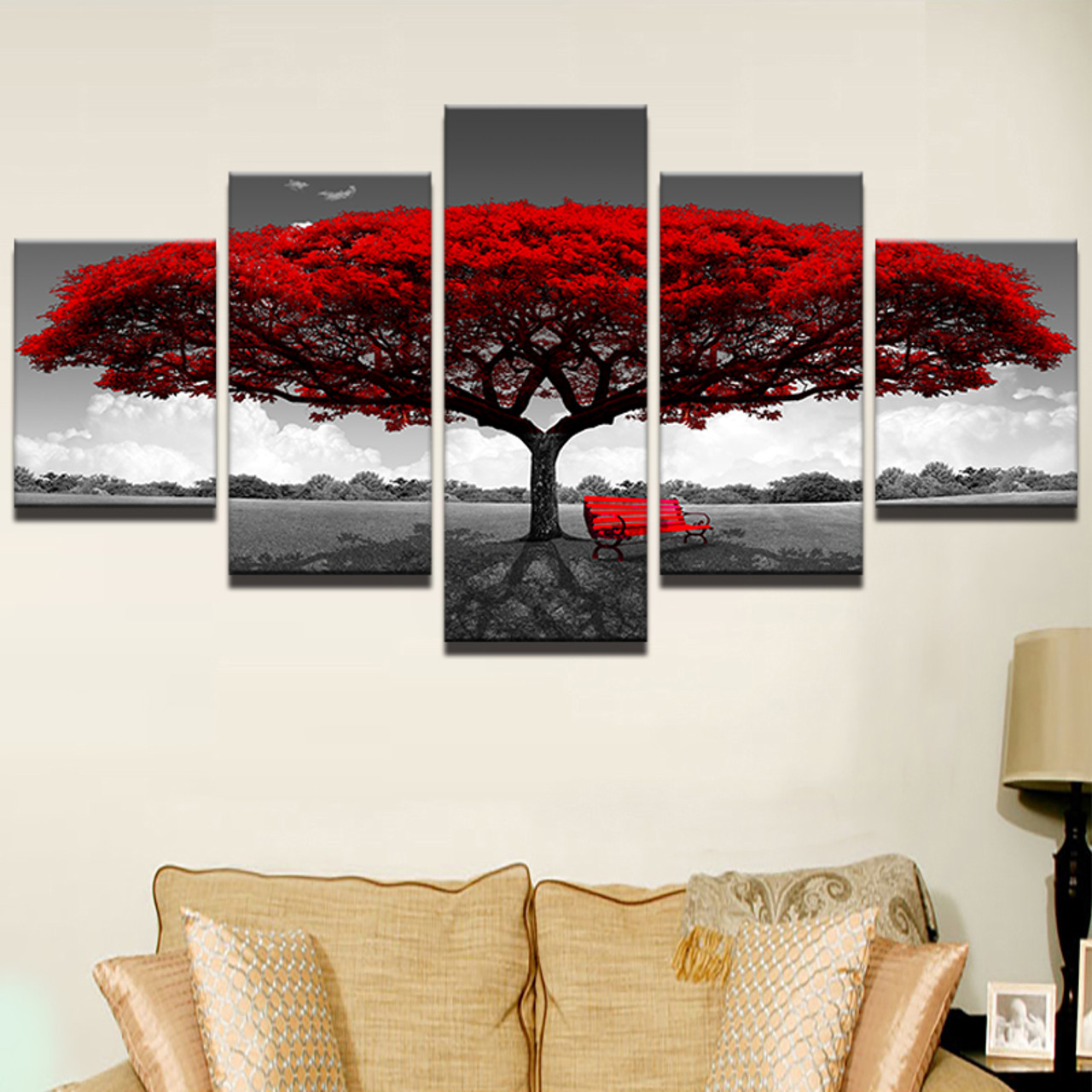 Home Decor Hd Printed Wall Art Pictures 5 Piece Red Tree Art Scenery Landscape Canvas Painting Home Decor For Living Room Pengda Onshopdeals Com