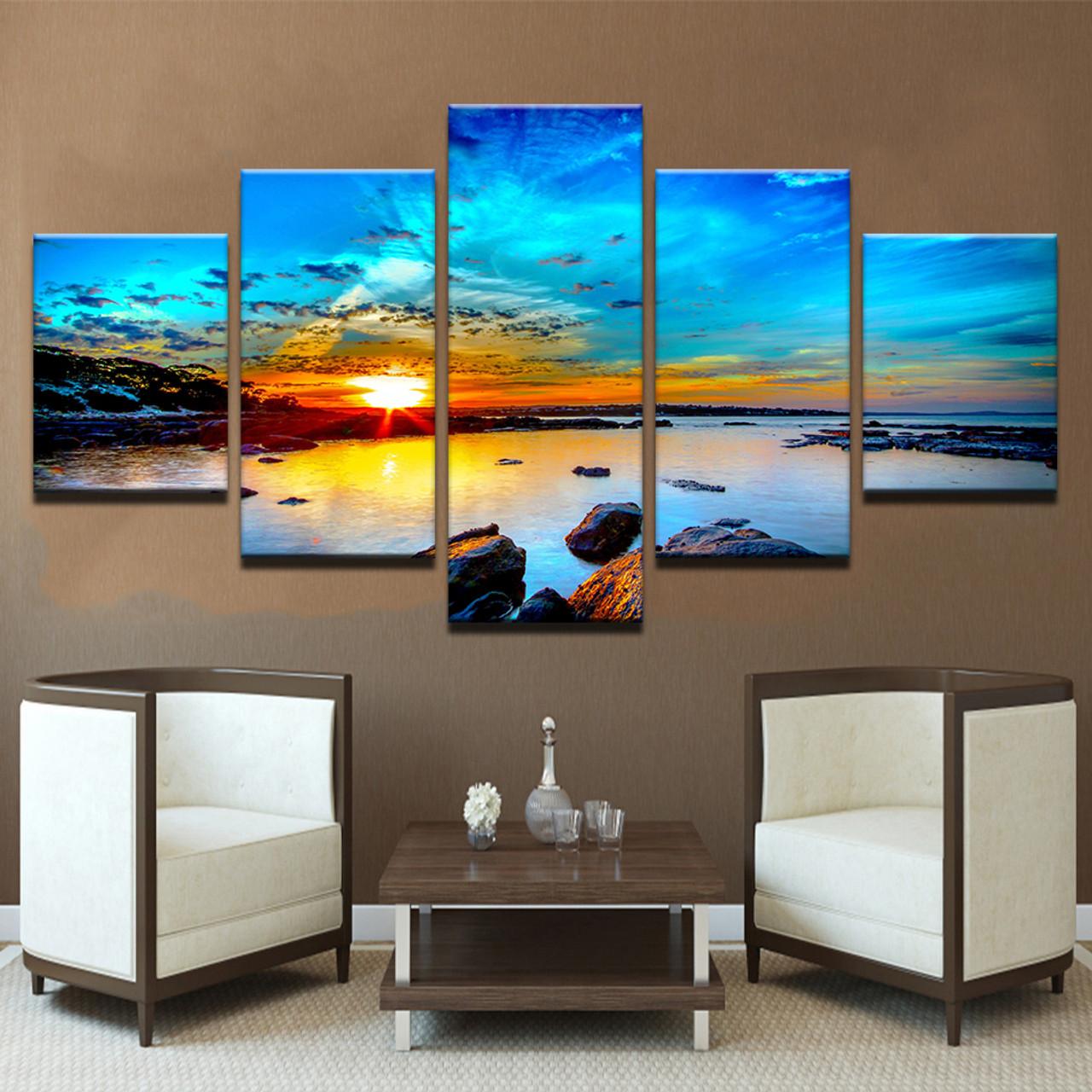 Blue Beach Seascapes Paintings  5 Piece Canvas Wall Art Print Home Decor