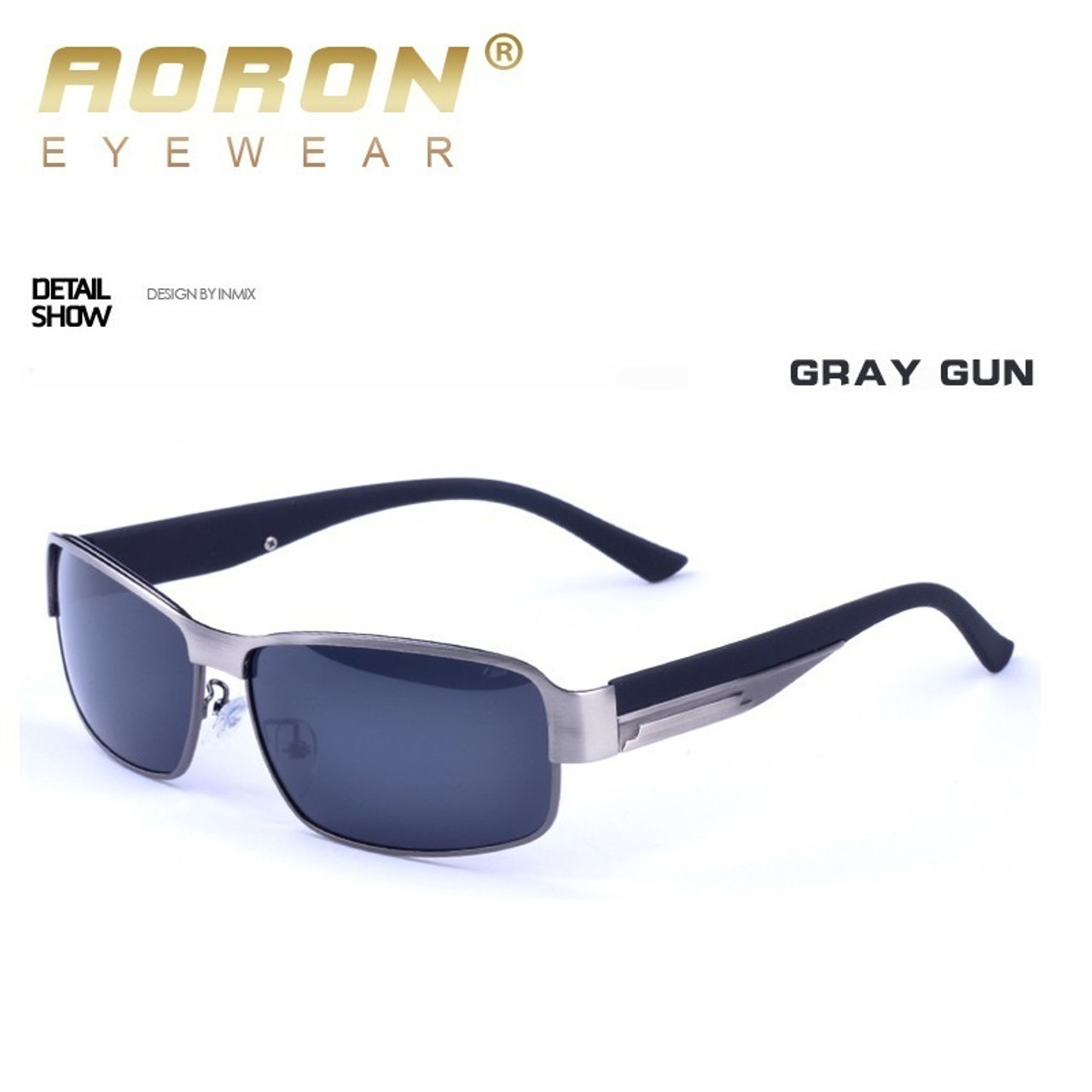 112e790553d AORON New Fashion High Quality Metal Frame Rectangle Lens Polarized Men  Sunglasses Male Driving Sun Glasses ...
