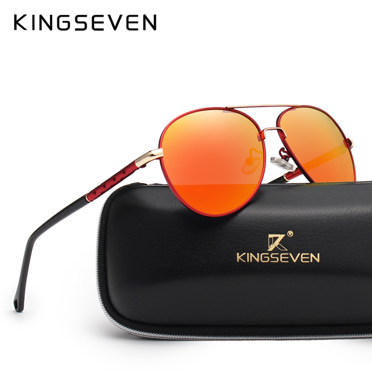 4689b3a906ae KINGSEVEN Brand Design Pilot Sunglasses Men and Women Polarized Mirror  Hollow Frame UV Glass Goggles For ...