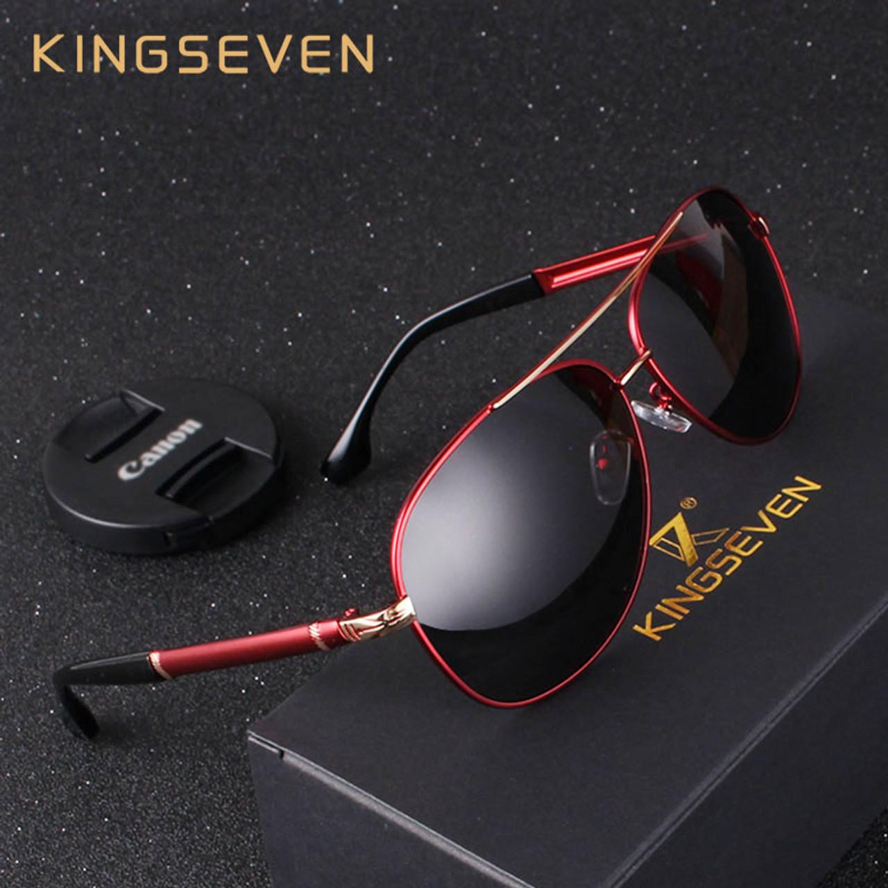 KINGSEVEN New Design Aluminum Magnesium Men s Sunglasses Polarized Coating  Mirror Sun Glasses oculos Male Eyewear Driving ... 8673ac4350