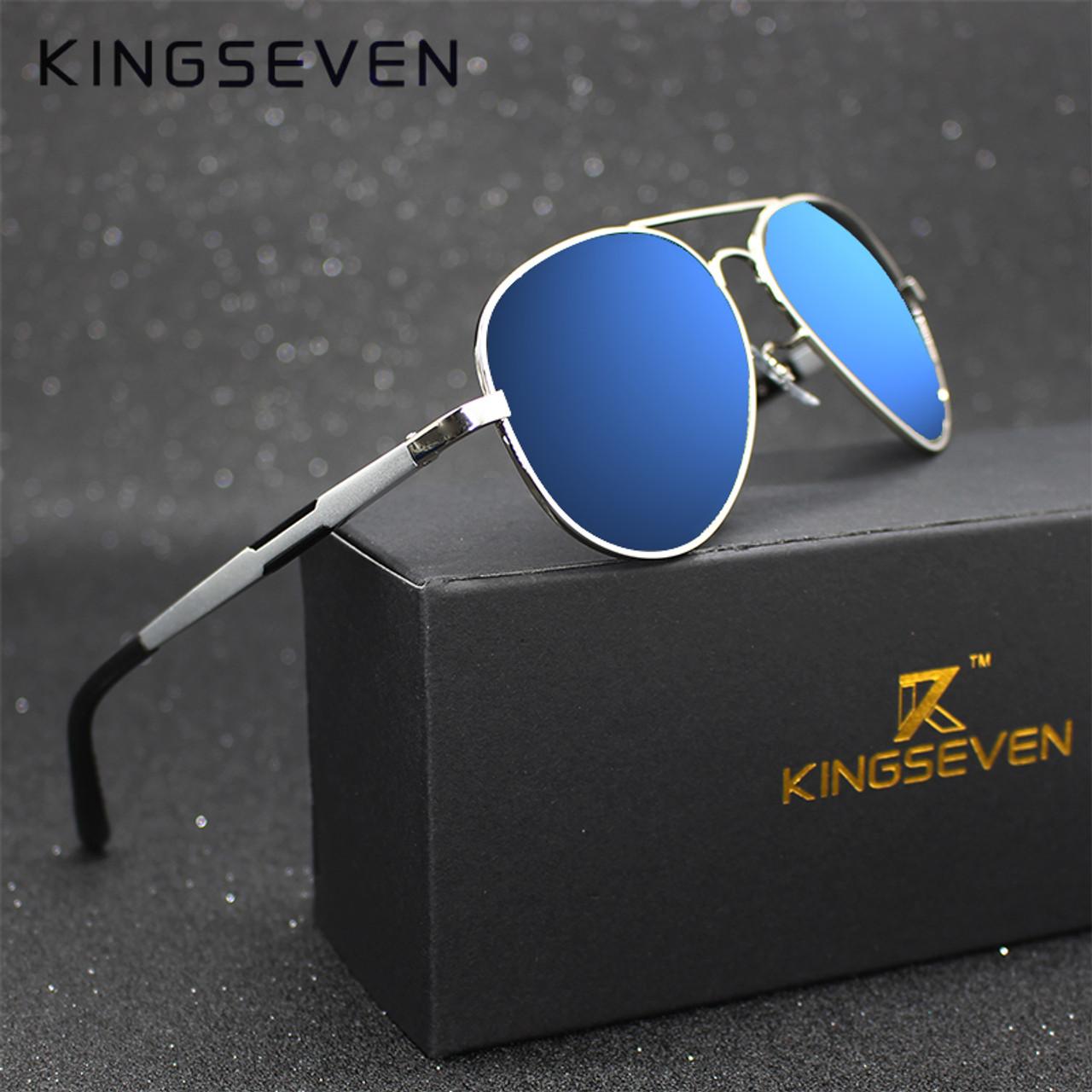 Kingseven Aluminum Magnesium Gold Fashion Polarized Lens Sunglasses Men Women  Driving Mirror Sun Glasses Points Male Oculos 7170 - OnshopDeals.Com 21ab55e988