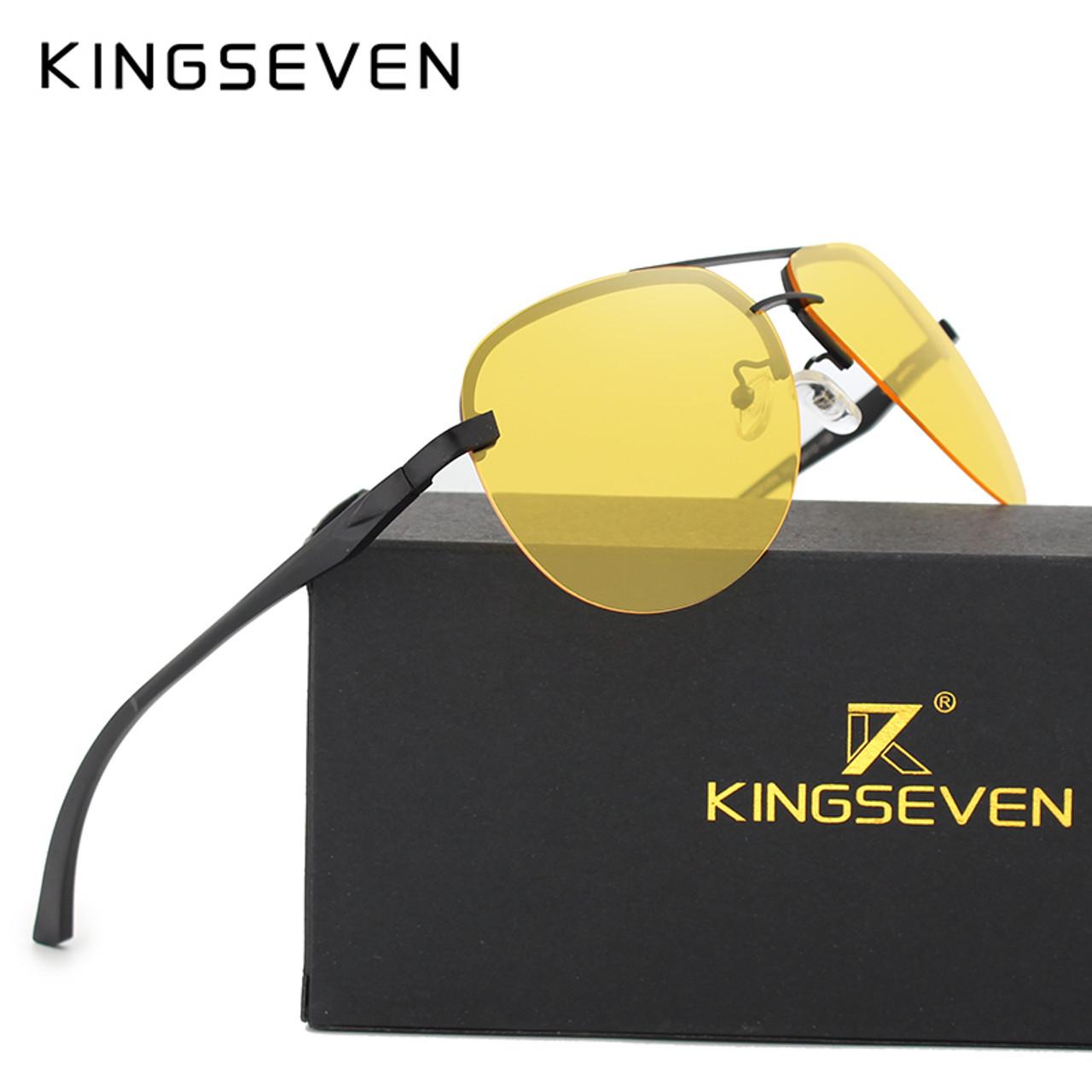 ec9367a15ed KINGSEVEN Polarized Night vision Sunglasses Mens Original Box Goggles Women  Designer Leisure Glasses Oculos de sol ...