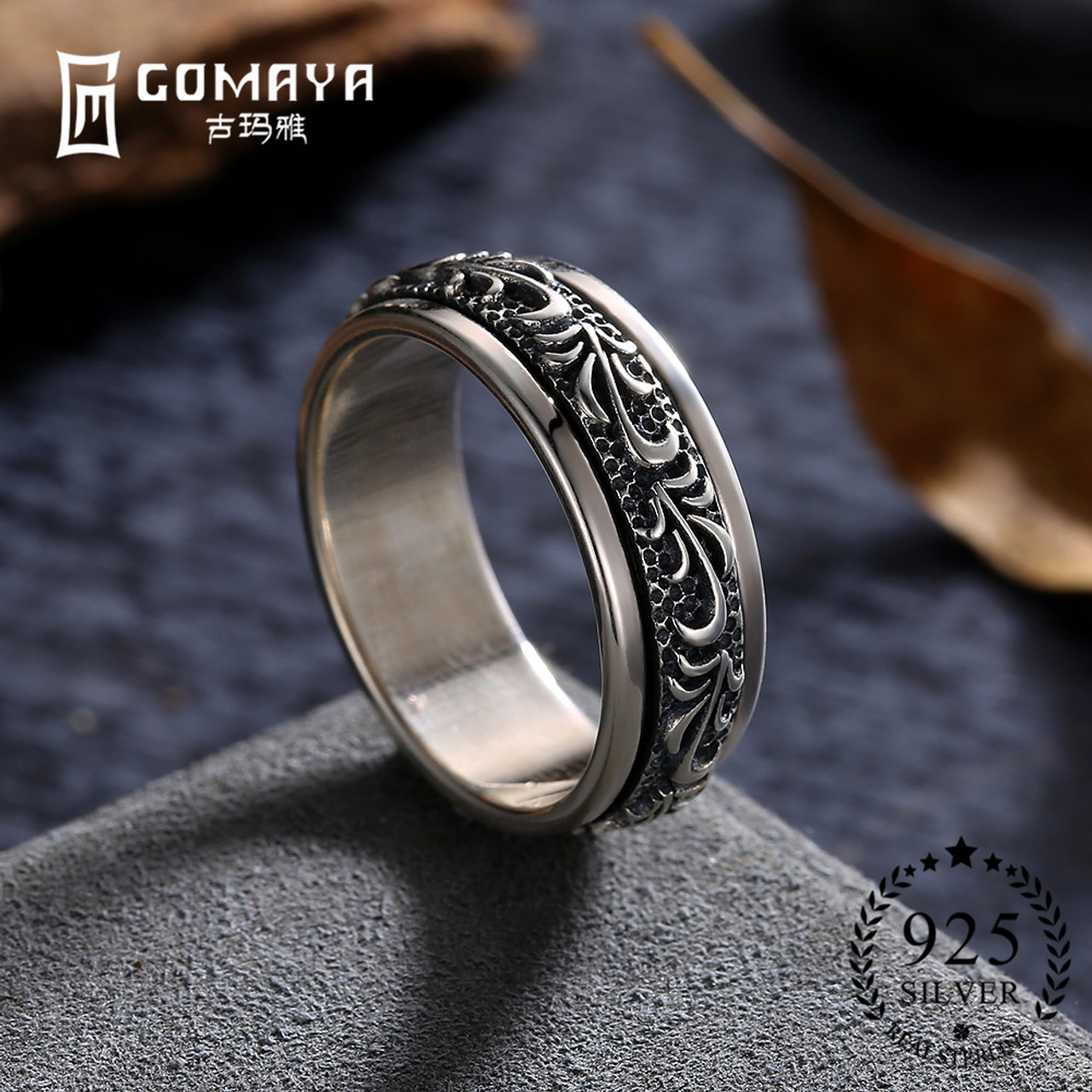 4a003968e7cd3 GOMAYA Carving Flower 925 Sterling Silver Rings Gothic Vintage Rock Punk  Cocktail Fine Jewelry for Men and Women Anillos