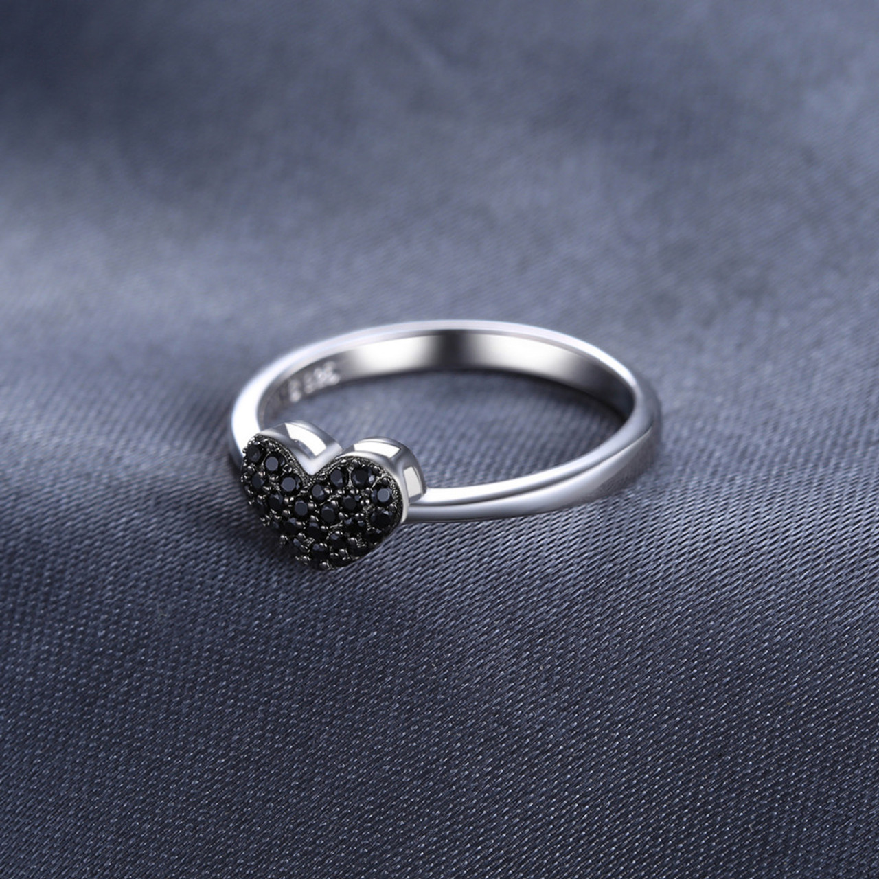 75f853a47bb9 ... JewelryPalace Fashion 0.14ct Natural Black Spinel Love Heart Rings For Women  100% 925 Sterling ...
