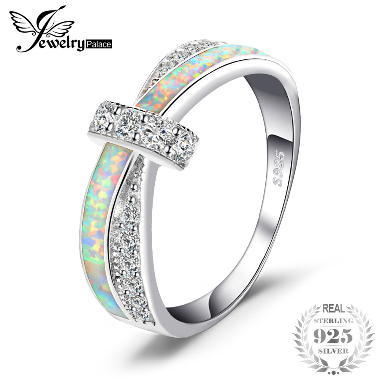 JewelryPalace Fashion Created Opal Crossover Band Ring 925 Sterling Silver Gift For Girlfriend Birthday Present Hot Selling