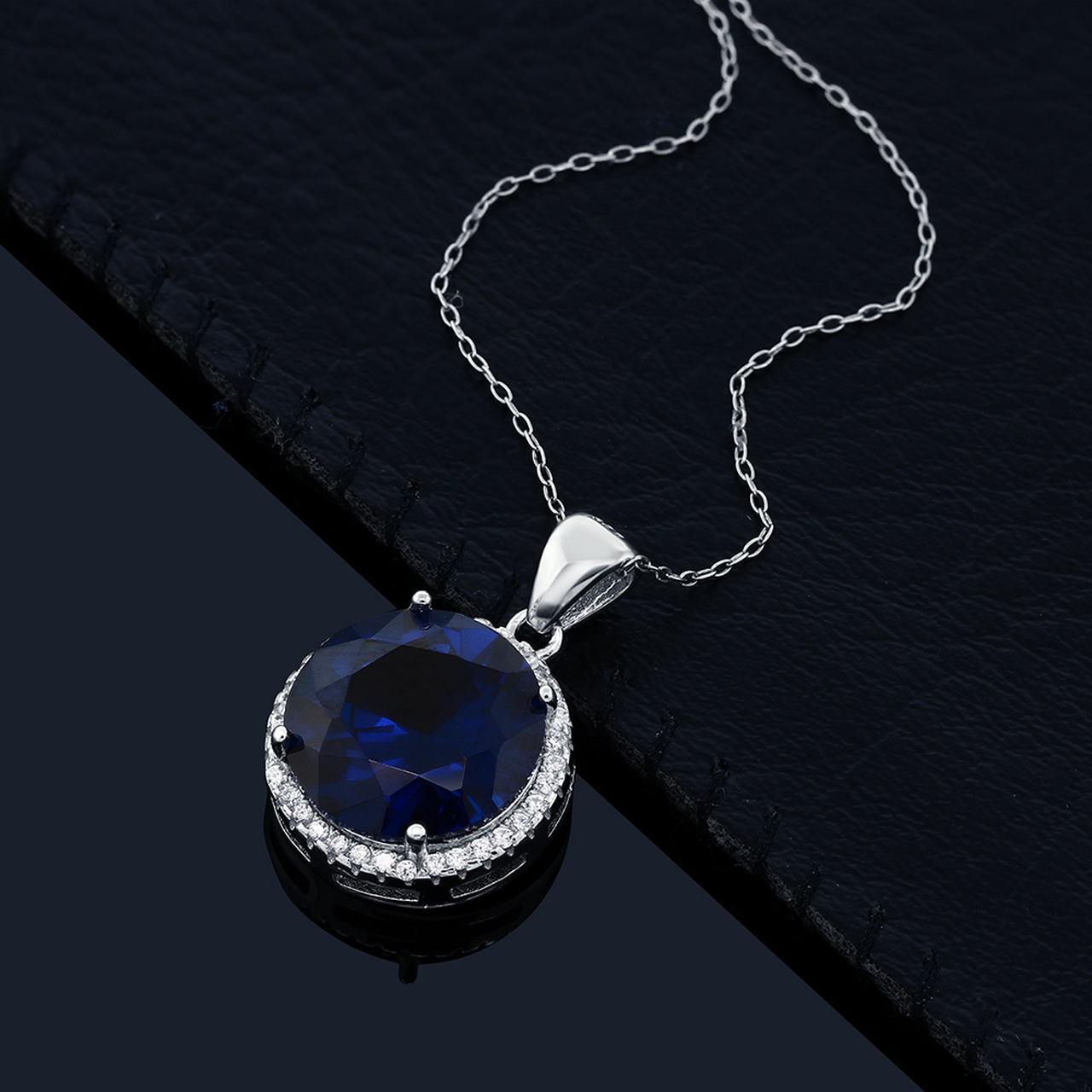 925 Sterling Silver Sapphire Pendant Necklace For Women Fashion Jewelry