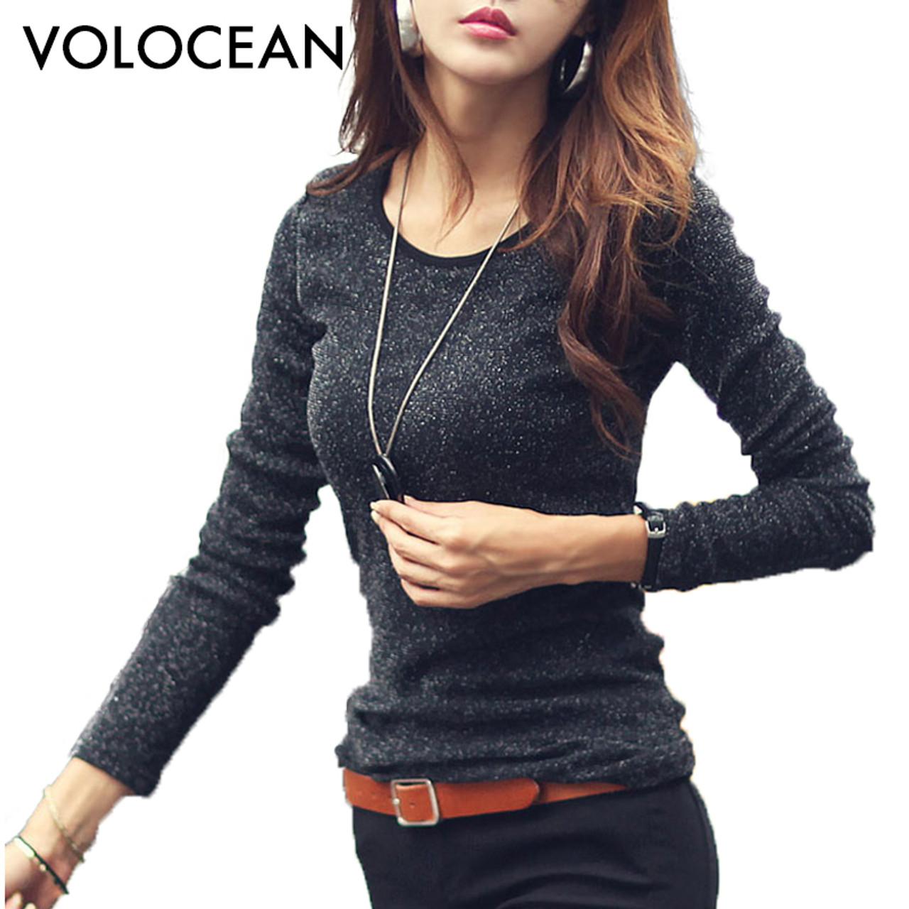 VOLOCEAN 2018 New Blinking Tshirt Women Shiny T-shirts For Women Fashion  Long-sleeve T Shirt Woman Plus Size Female T-shirt - OnshopDeals.Com b60da23104c