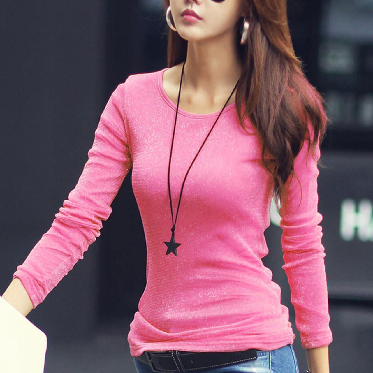 89f2f4260e32 ... VOLOCEAN 2018 New Blinking Tshirt Women Shiny T-shirts For Women  Fashion Long-sleeve ...
