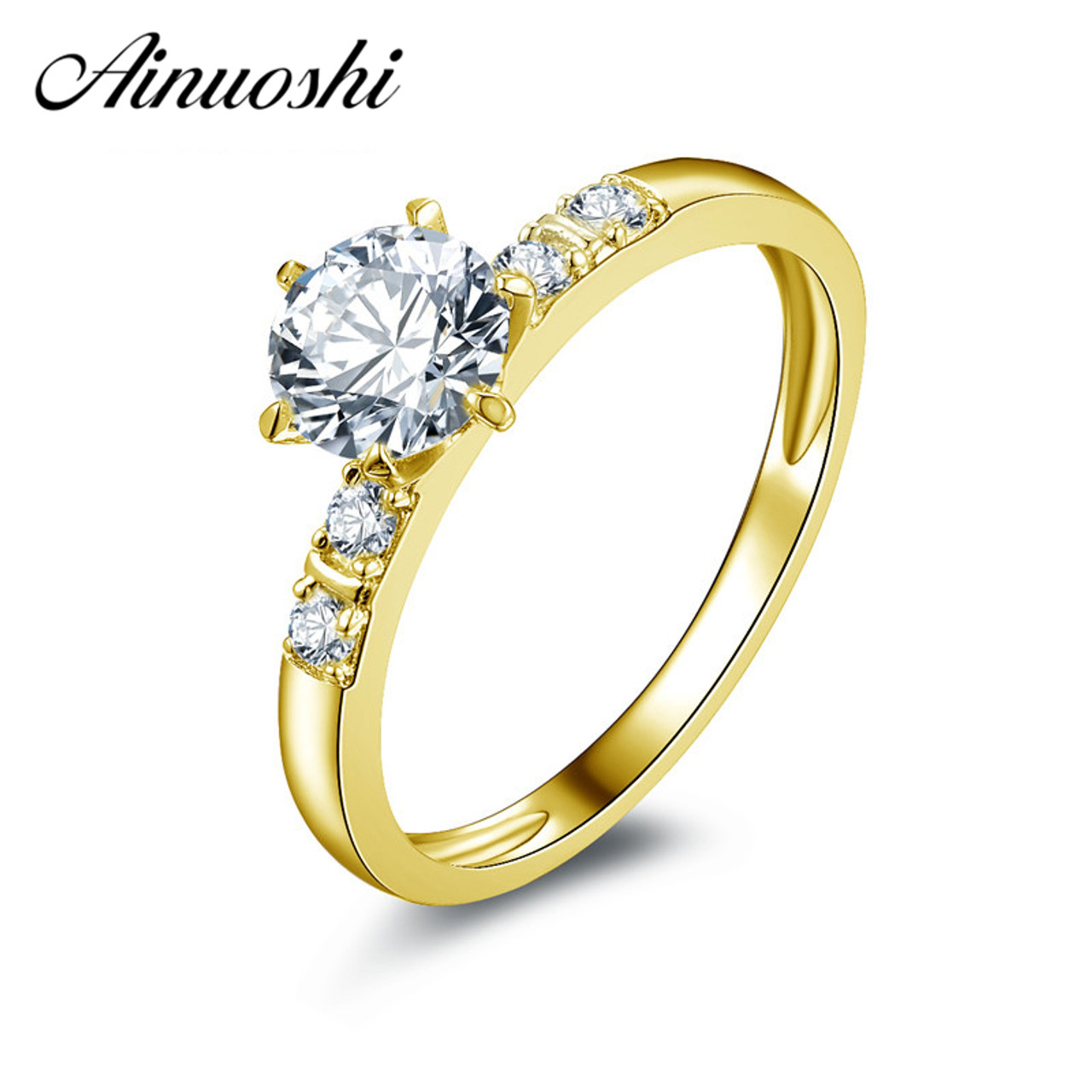 9ad1485e0c7b AINUOSHI 10k Solid Yellow Gold Wedding Ring 0.8 ct Round Cut Simulated Diamond  Anillos Mujer Real Gold Wedding Ring for Women - OnshopDeals.Com