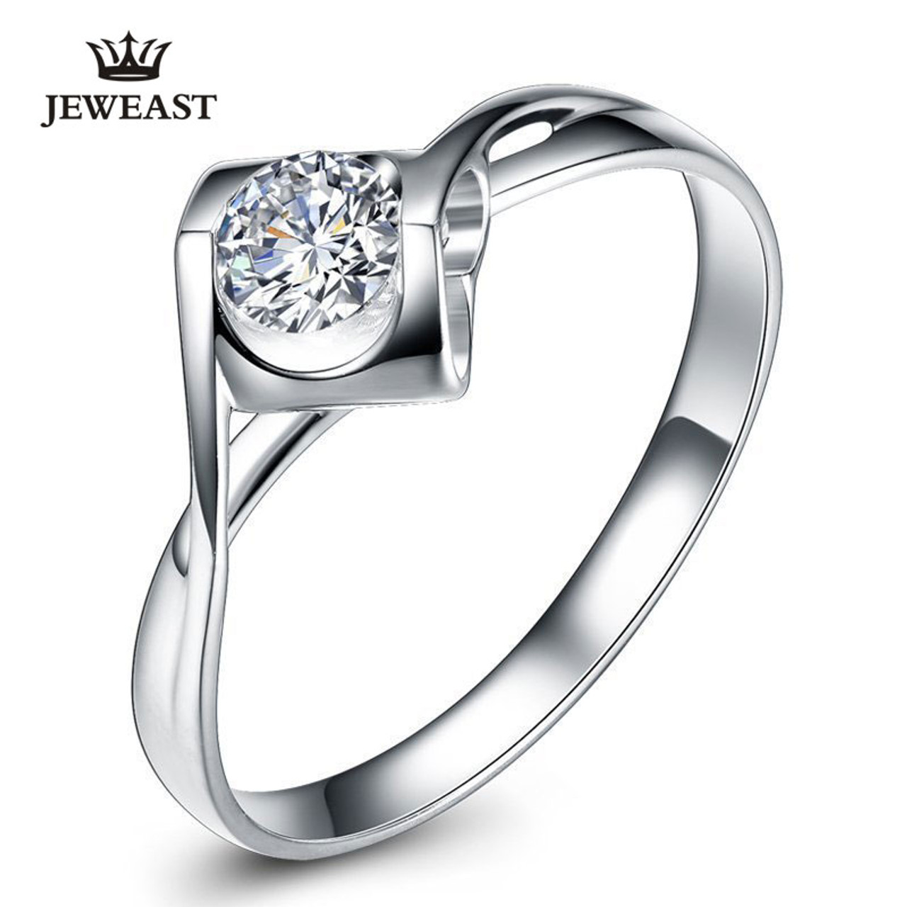 873667d8d0 Natural diamond Ring 18k Gold Women Lover Couple Anniversary Romantic  Propose Engaged Wedding Party South African ...