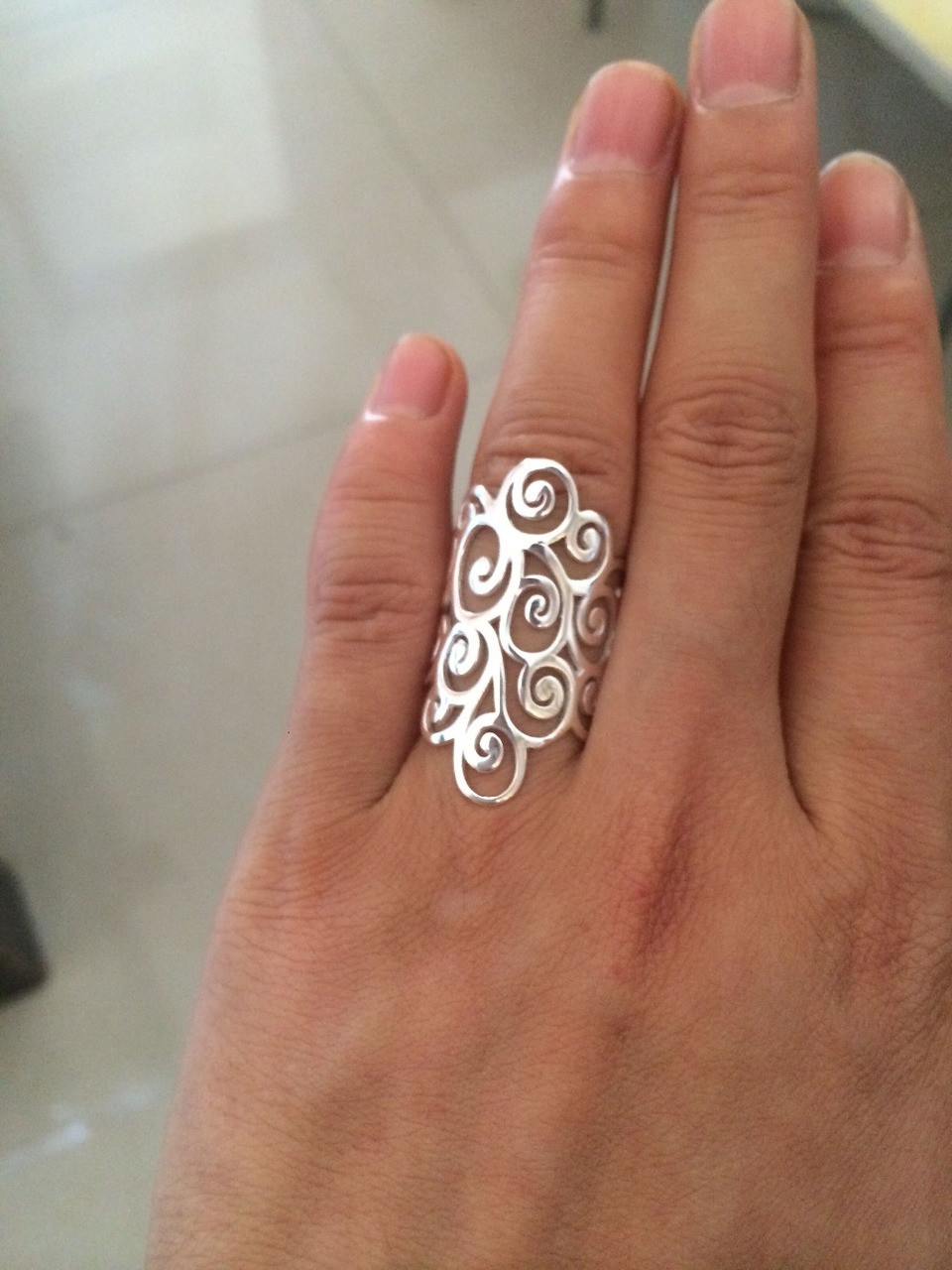 0fbd2b38b ... Retro 925 Sterling Silver Spiral Filigree Swirl Polish Finished Band  Long Ring thumb Adjustable jewelry Women ...