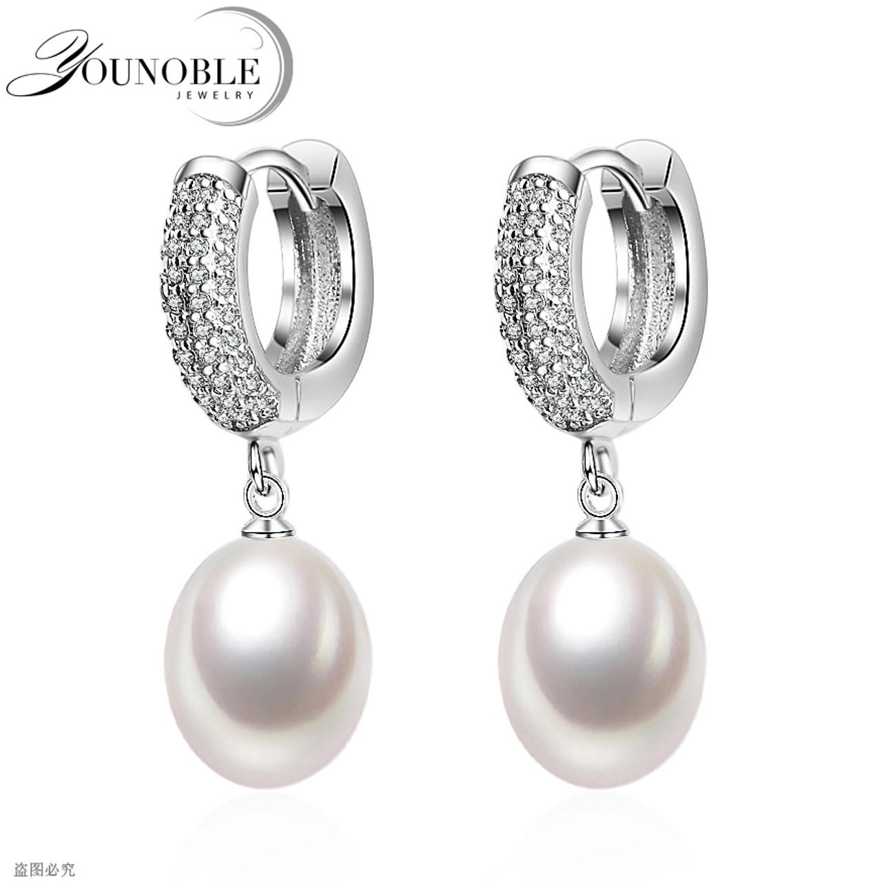 Real 925 Silver Natural Crystal Pearl Star Stud Earrings Women Wedding Jewelry
