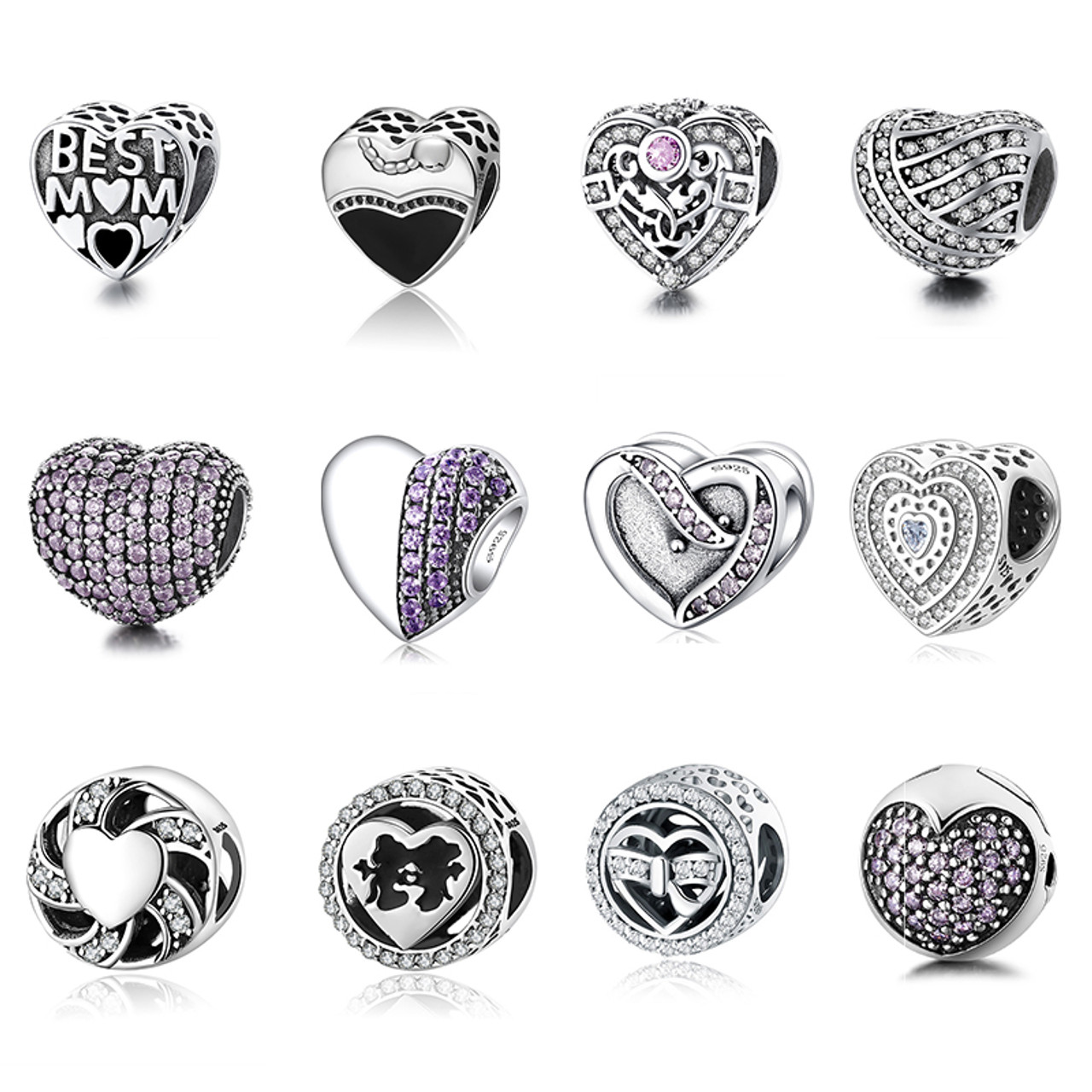 feeb6b3c64b63 12 Style Authentic 925 Sterling Silver Heart Shape Beads Charm Fit pandora  Charm Bracelet DIY Original Silver Jewelry