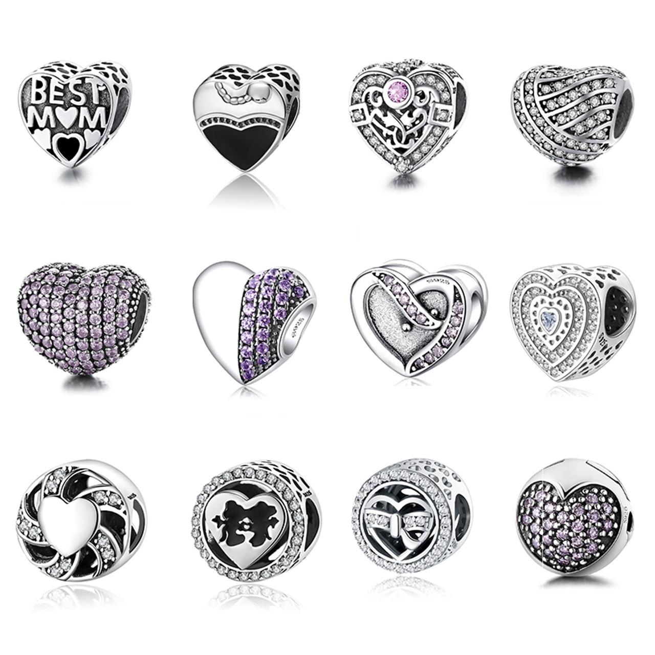 9d3febafb 12 Style Authentic 925 Sterling Silver Heart Shape Beads Charm Fit pandora  Charm Bracelet DIY Original ...