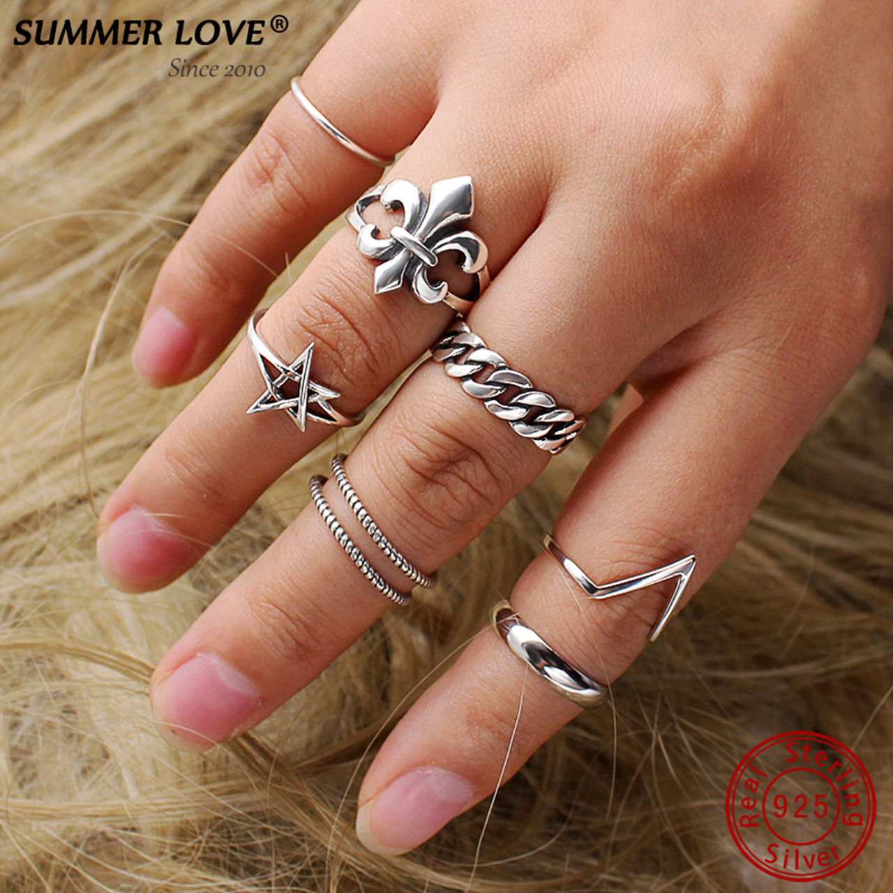 Chrome Hearts Style Fashion Sterling Silver Band Ring Bijoux Unisexe