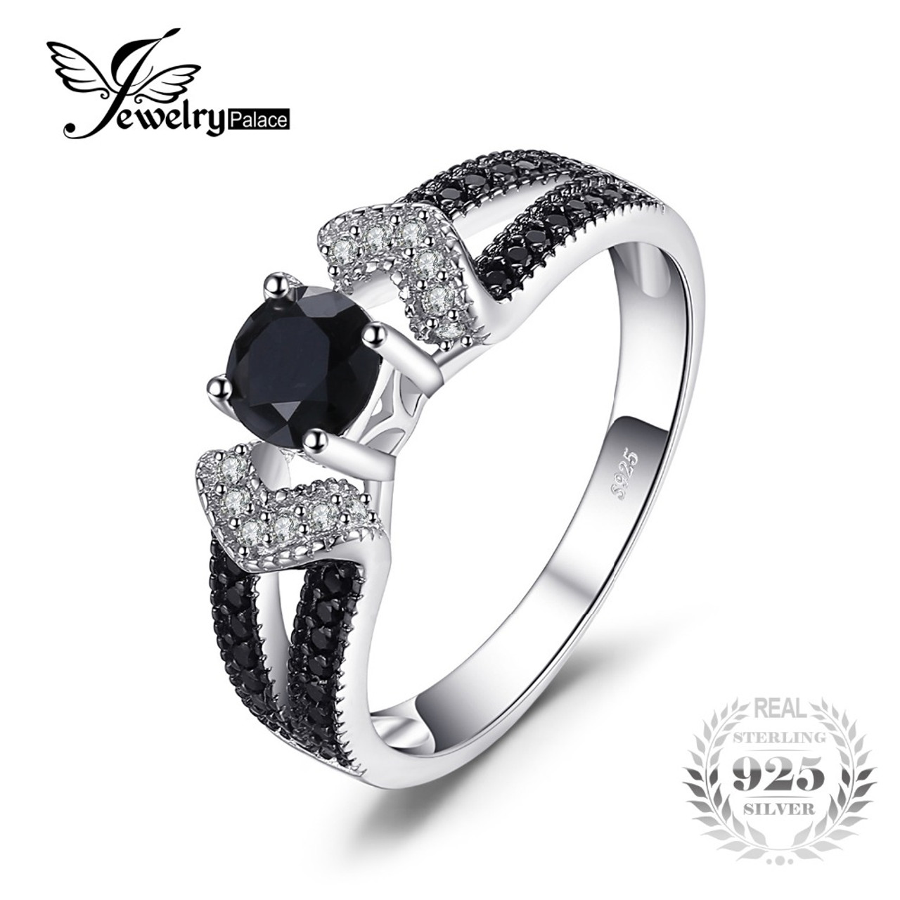 2245700e3cc3 JewelryPalace Elegant 0.8ct Natural Black Spinel Wedding Bands Rings For  Women Genuine 925 Sterling Silver ...