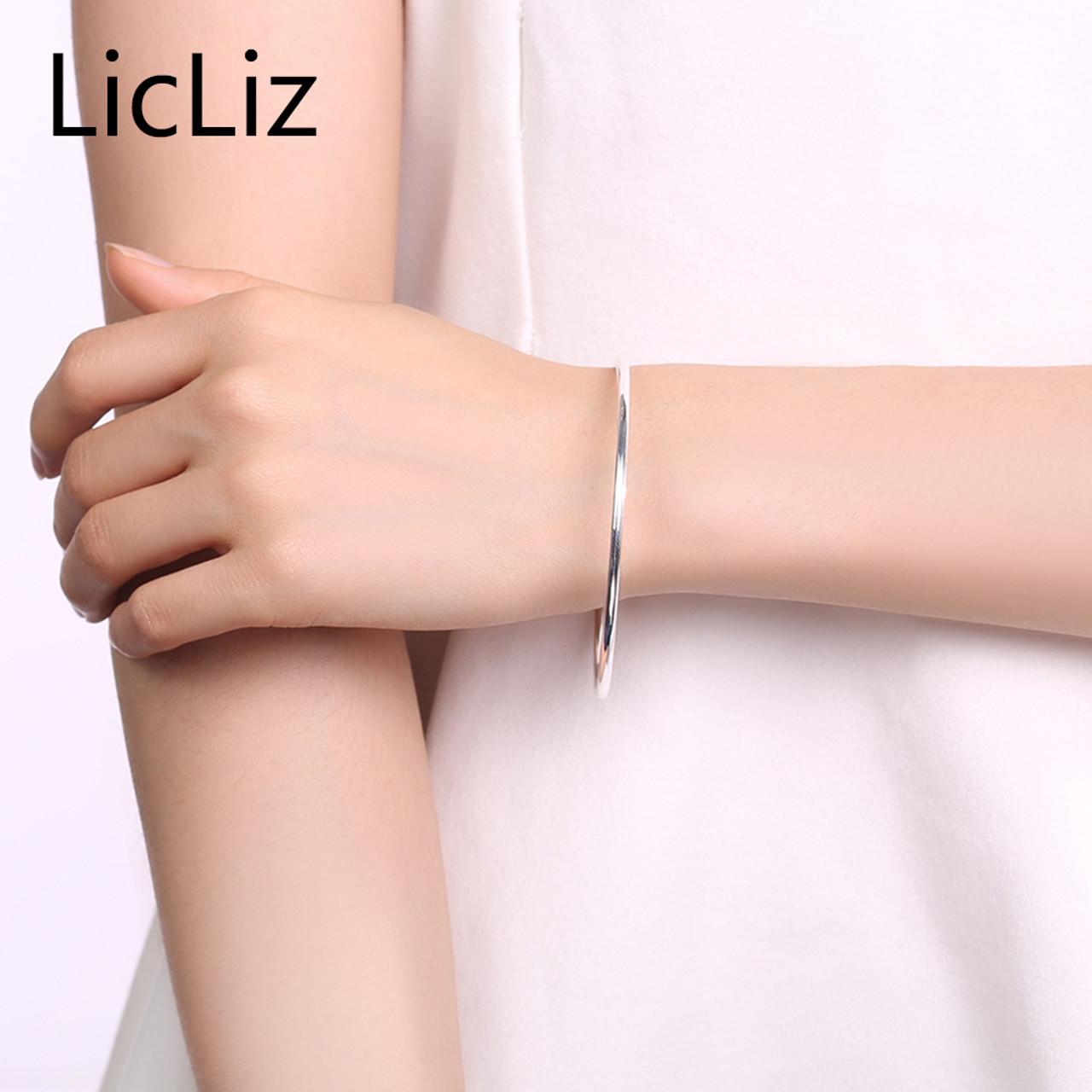 42e9f91502d ... LicLiz 100% Real 925 Sterling Silver Bangle Bracelets For Women Men  Fine Jewelry Silver Solid ...