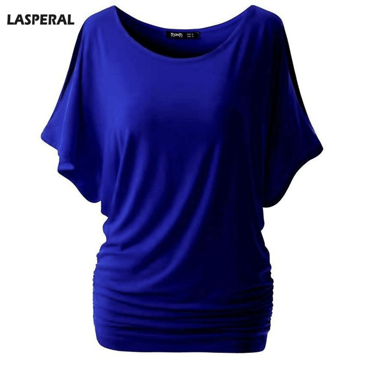 75c53630858 LASPERAL Brand T Shirt for Women Batwing Sleeve Tshirt Tops Solid O-Neck  Cotton Summer Top Tees Female Plus Size Casual Shirts - OnshopDeals.Com