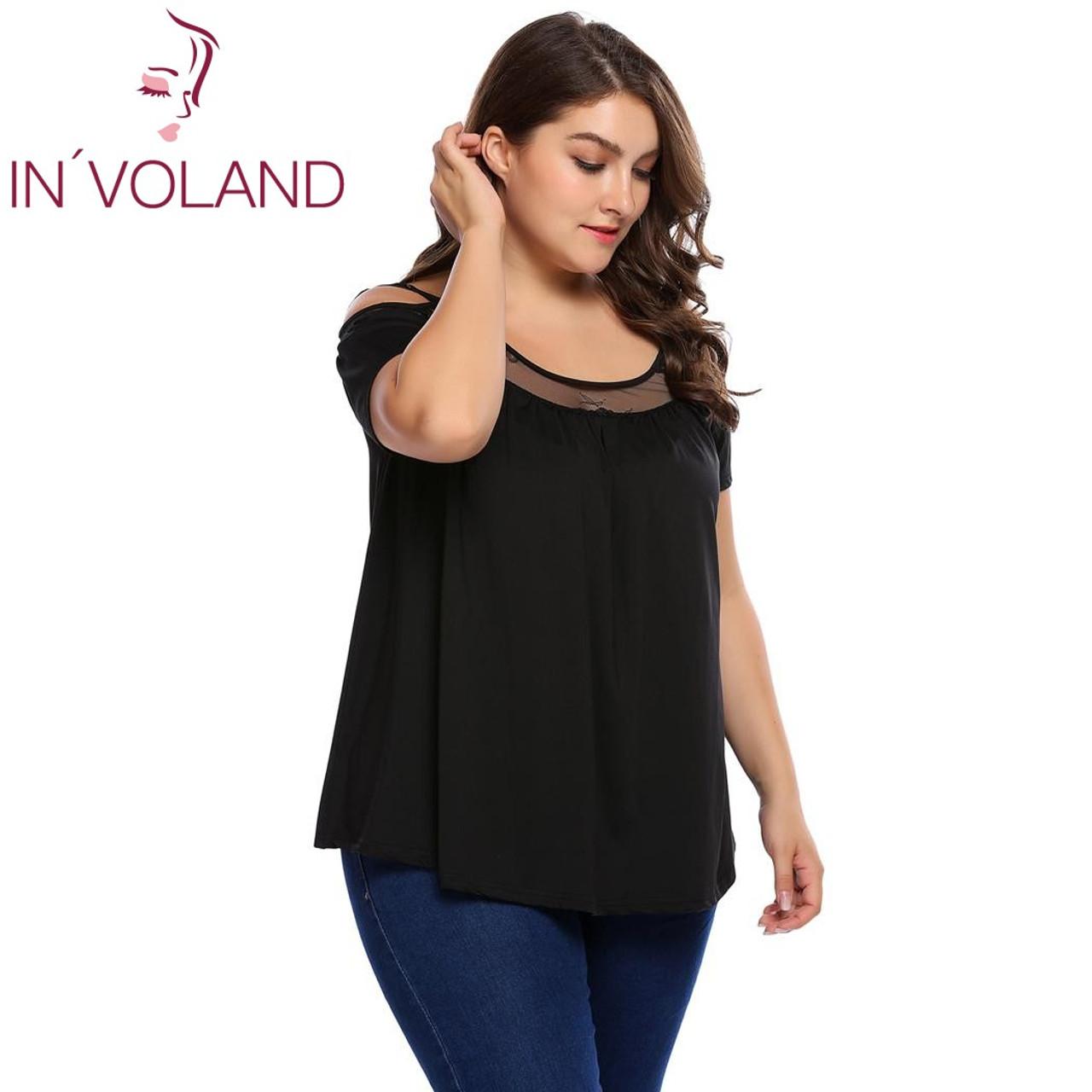 d7d6c03b43b ... IN VOLAND Women T-Shirt Tops Plus Size L-4XL Casual Cold Shoulder ...