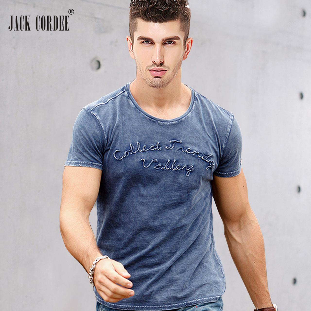 5ab669c70f03 JACK CORDEE Fashion T shirt Men Letter Embroidered 100% Cotton Tee Shirt  Slim Short Sleeve ...