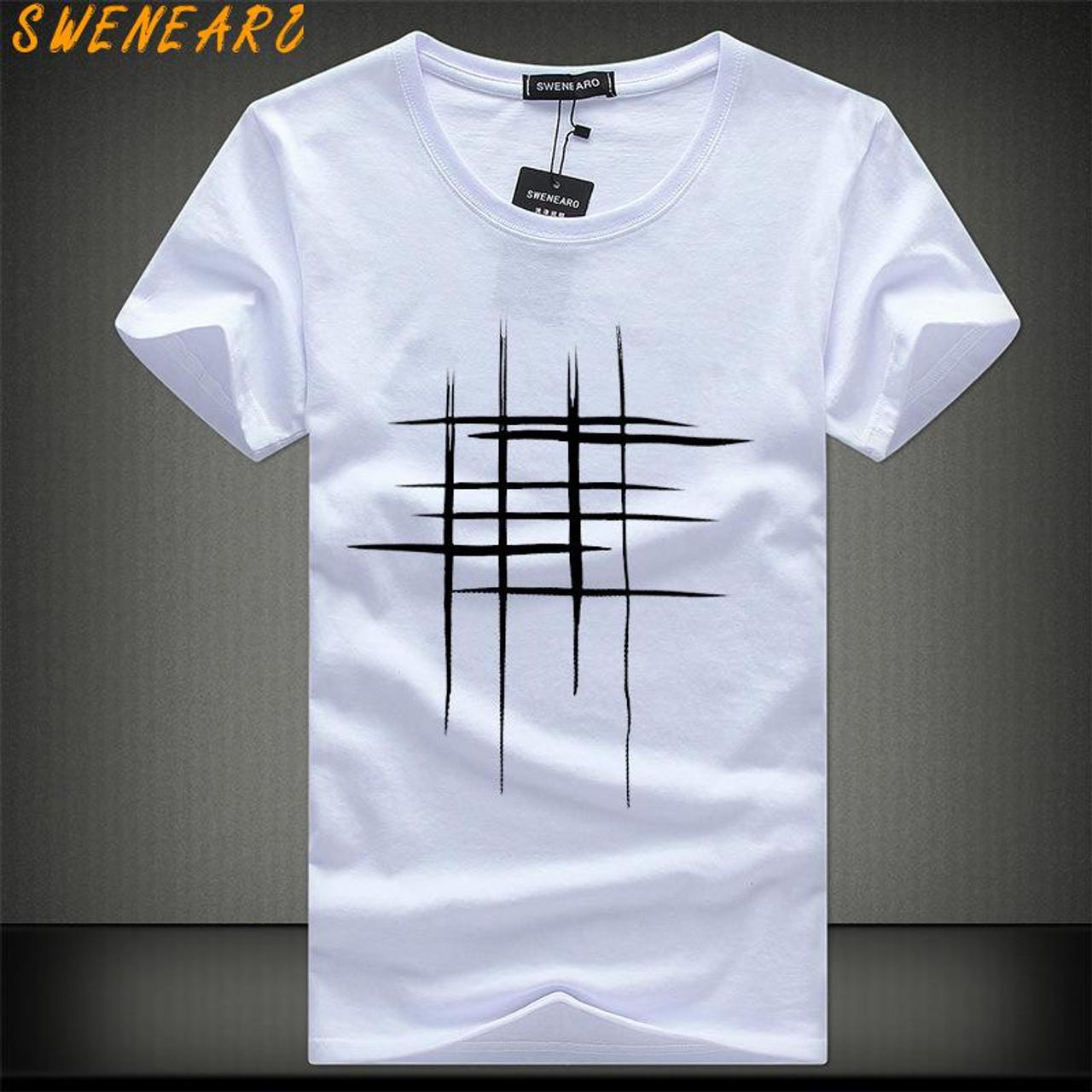 207e40c6e SWENEARO 2018 Simple creative design line cross Print cotton T Shirts Men's  New Arrival Summer Style ...
