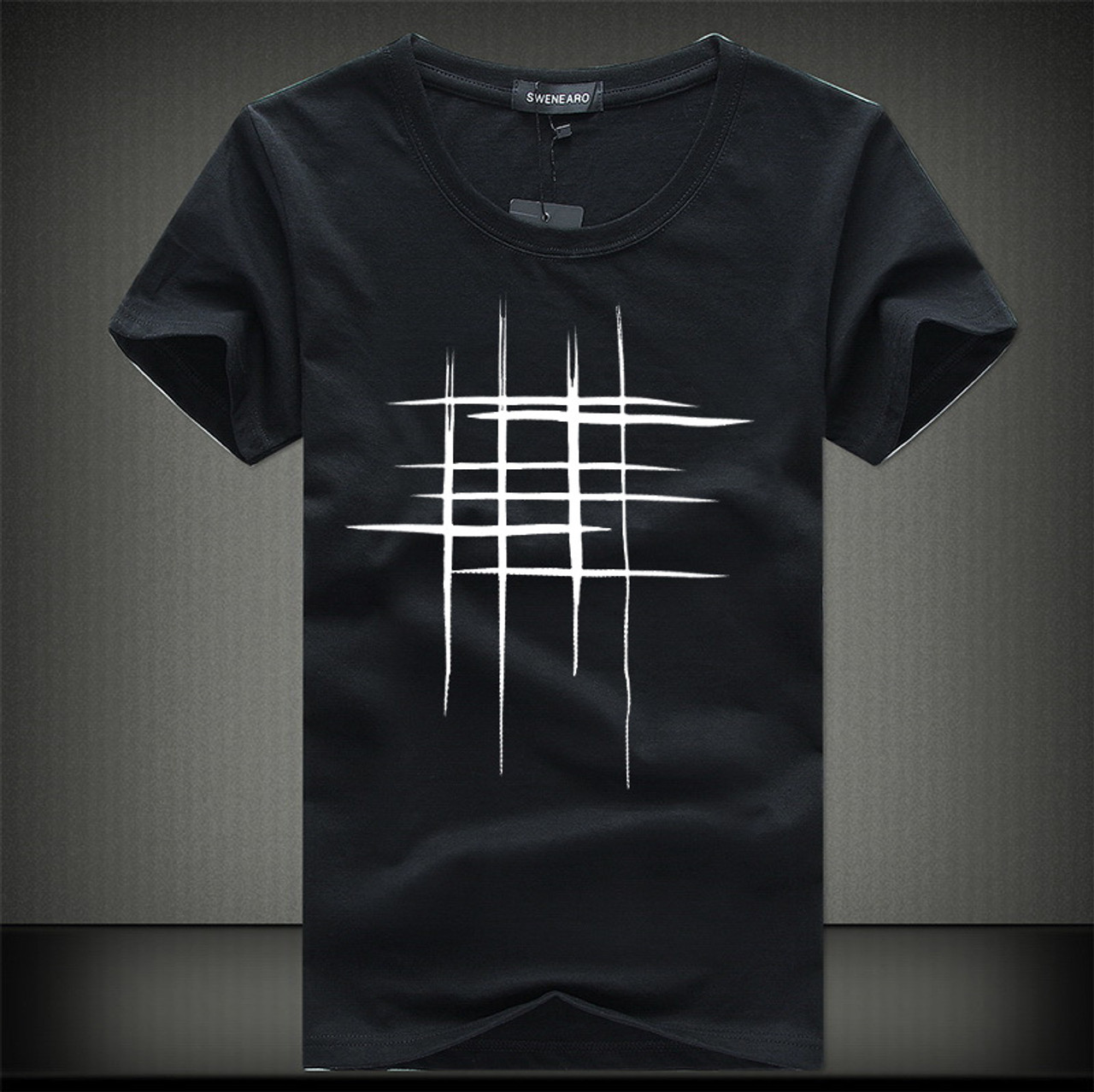 48bb249ae ... SWENEARO 2018 Simple creative design line cross Print cotton T Shirts  Men's New Arrival Summer Style ...