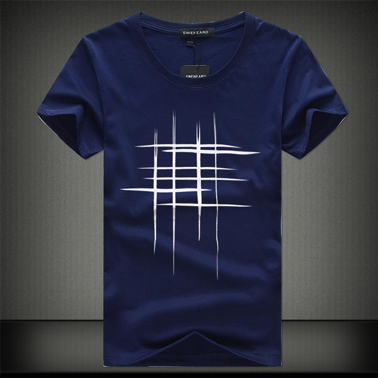 SWENEARO 2018 Simple creative design line cross Print cotton T Shirts Men's  New Arrival Summer Style Short Sleeve Men t-shirt - OnshopDeals.Com