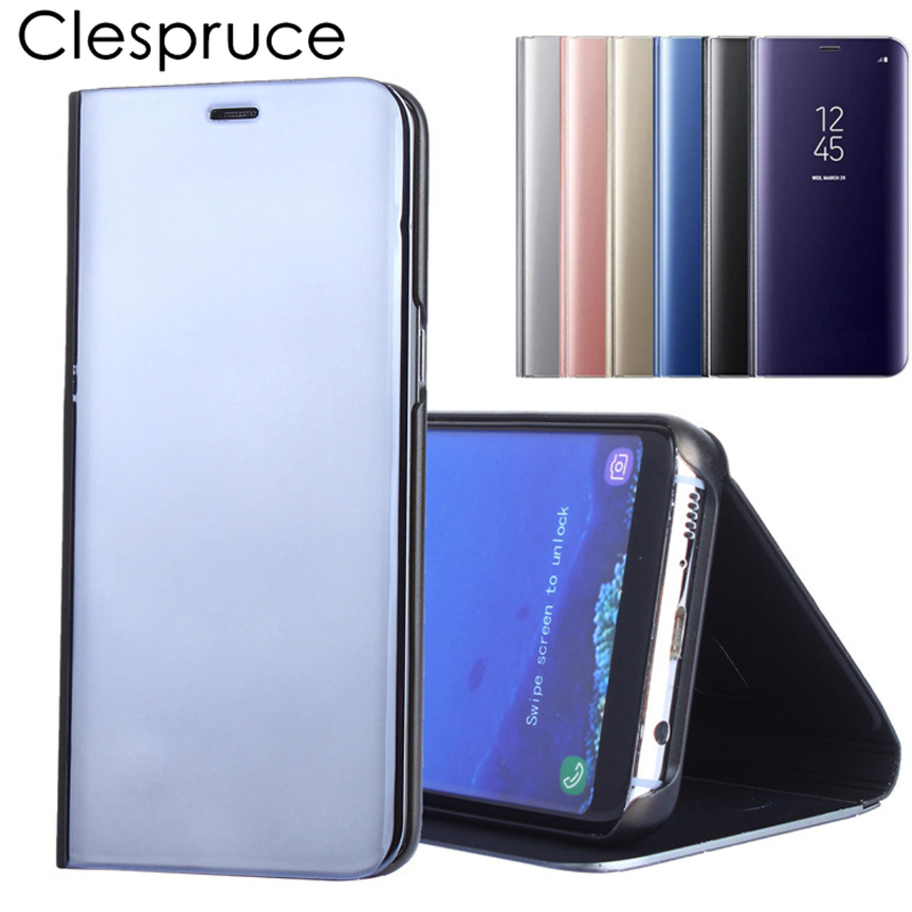For Samsung Galaxy S9 S8 Plus S6 S7 Edge Note 8 Smart Clear Mirror View  Case For Samsung A3 A5 A7 J3 J5 J7 2017 Flip Stand Cover