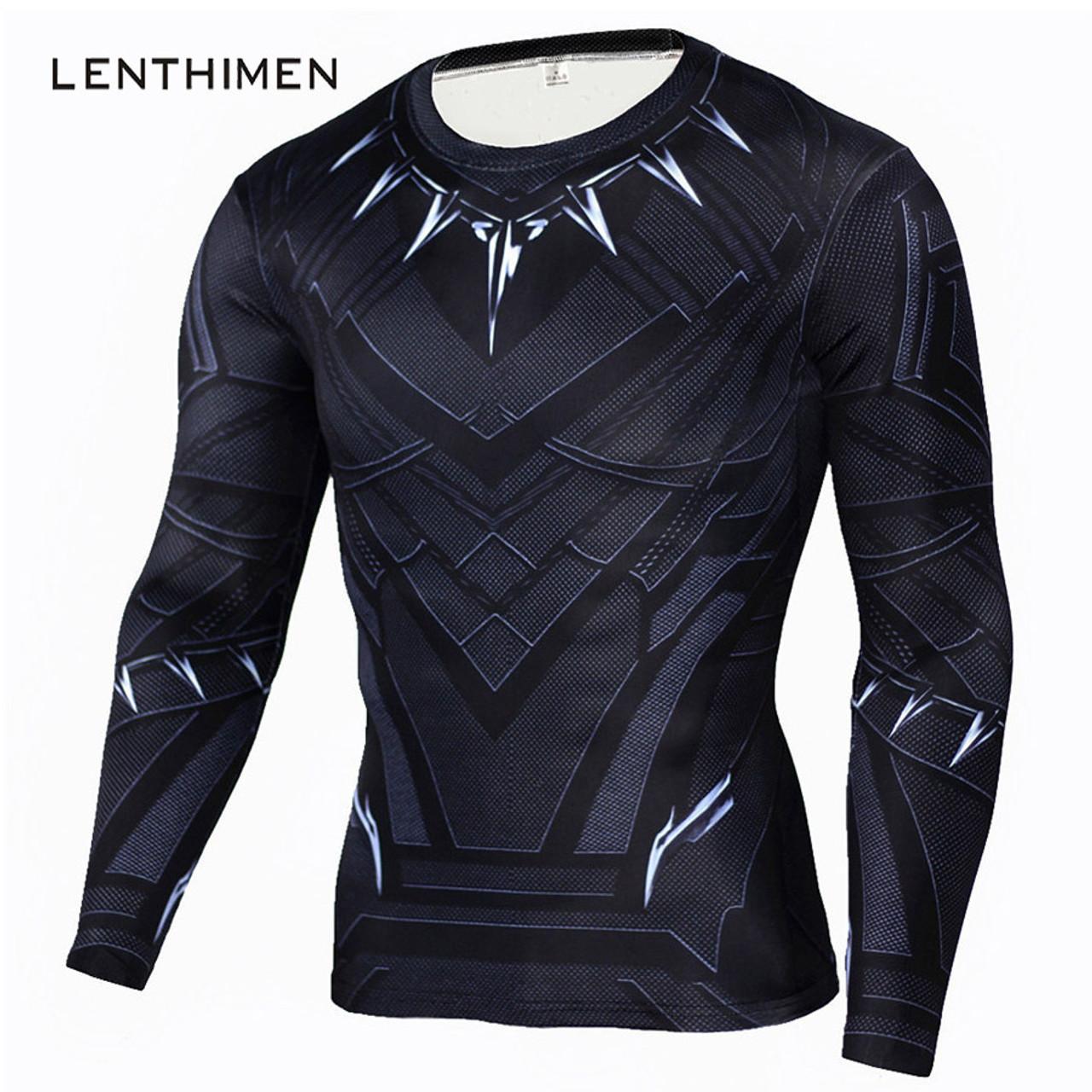 7606f12ebe8 Black Panther T Shirt Men Fitness Compression Shirt Men Superman Captain  America Long Sleeve 3D Marvel ...