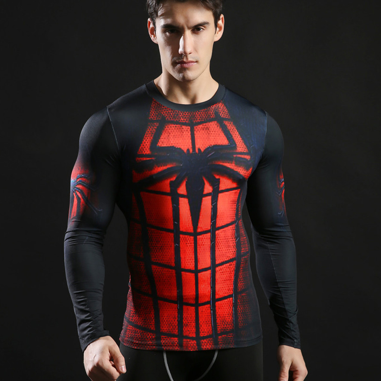 Men/'s Spider-Man Marvel Compression T-Shirt Long Sleeve Athletic Sports Tights